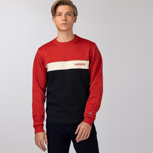 Lacoste Erkek Bisiklet Yaka Renk Bloklu Baskılı Renkli Sweatshirt