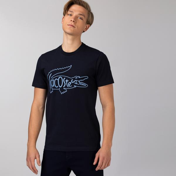 Lacoste Erkek Regular Fit Bisiklet Yaka Nakışlı Lacivert T-Shirt