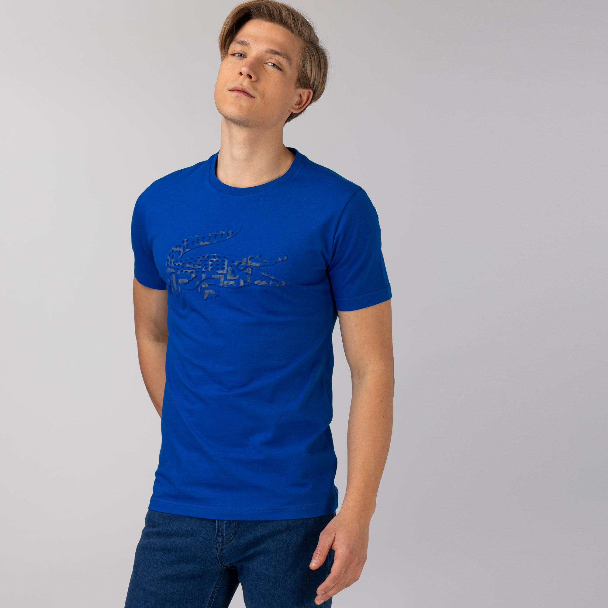 Lacoste Erkek Slim Fit Bisiklet Yaka Baskılı Mavi T-Shirt