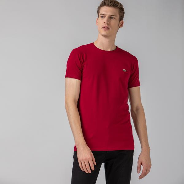 Lacoste Erkek Slim Fit Bisiklet Yaka Bordo T-Shirt