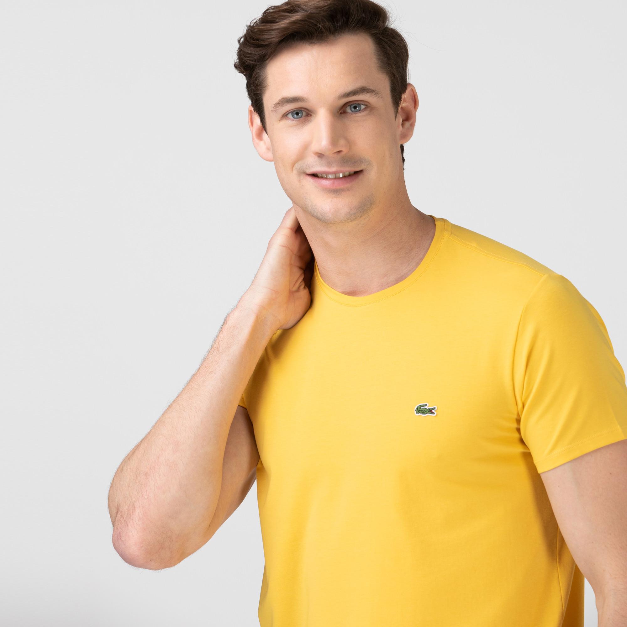 Lacoste Erkek Slim Fit Bisiklet Yaka Sarı T-Shirt
