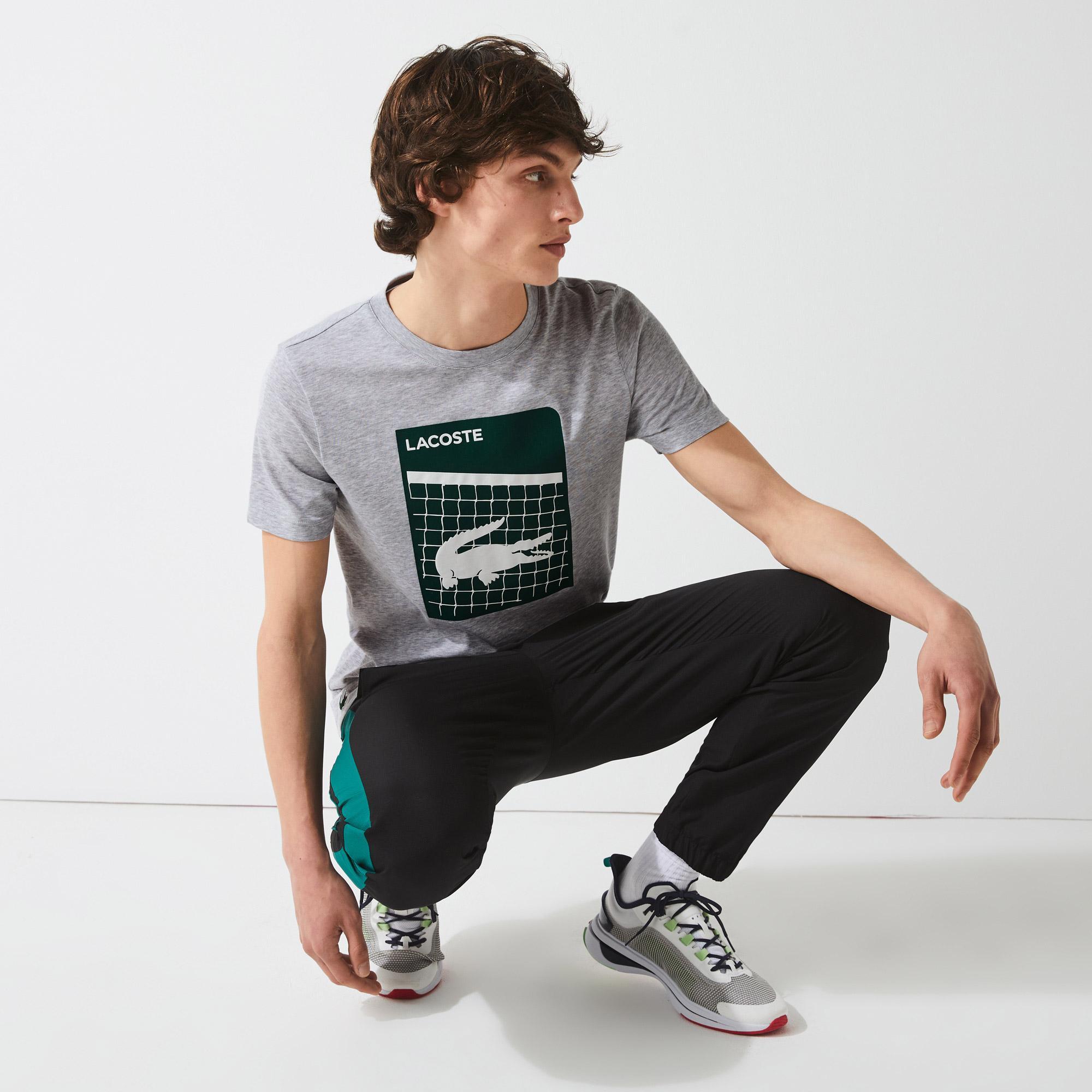 Lacoste Sport Erkek Bisiklet Yaka Baskılı Gri T-Shirt