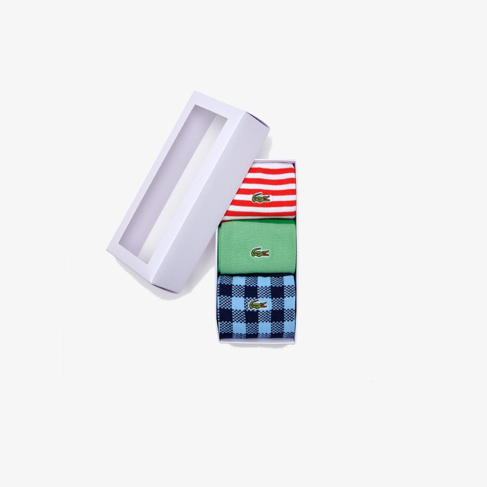 Lacoste Unisex Uzun Desenli Renkli 3'lü Çorap
