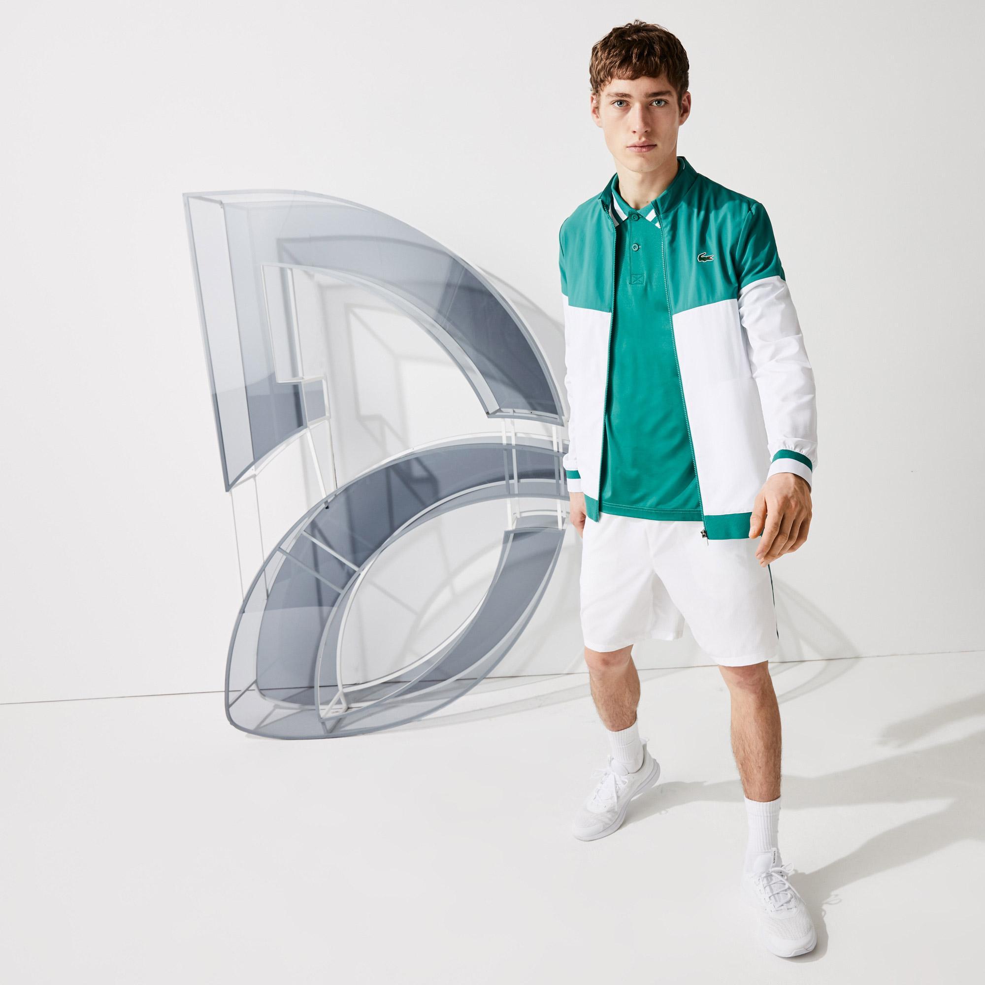 Lacoste Sport Novak Djokovic Erkek Dik Yaka Renk Bloklu Yeşil - Beyaz Ceket