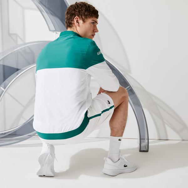 Lacoste Sport Novak Djokovic Erkek Dik Yaka Renk Bloklu Yeşil - Beyaz Mont