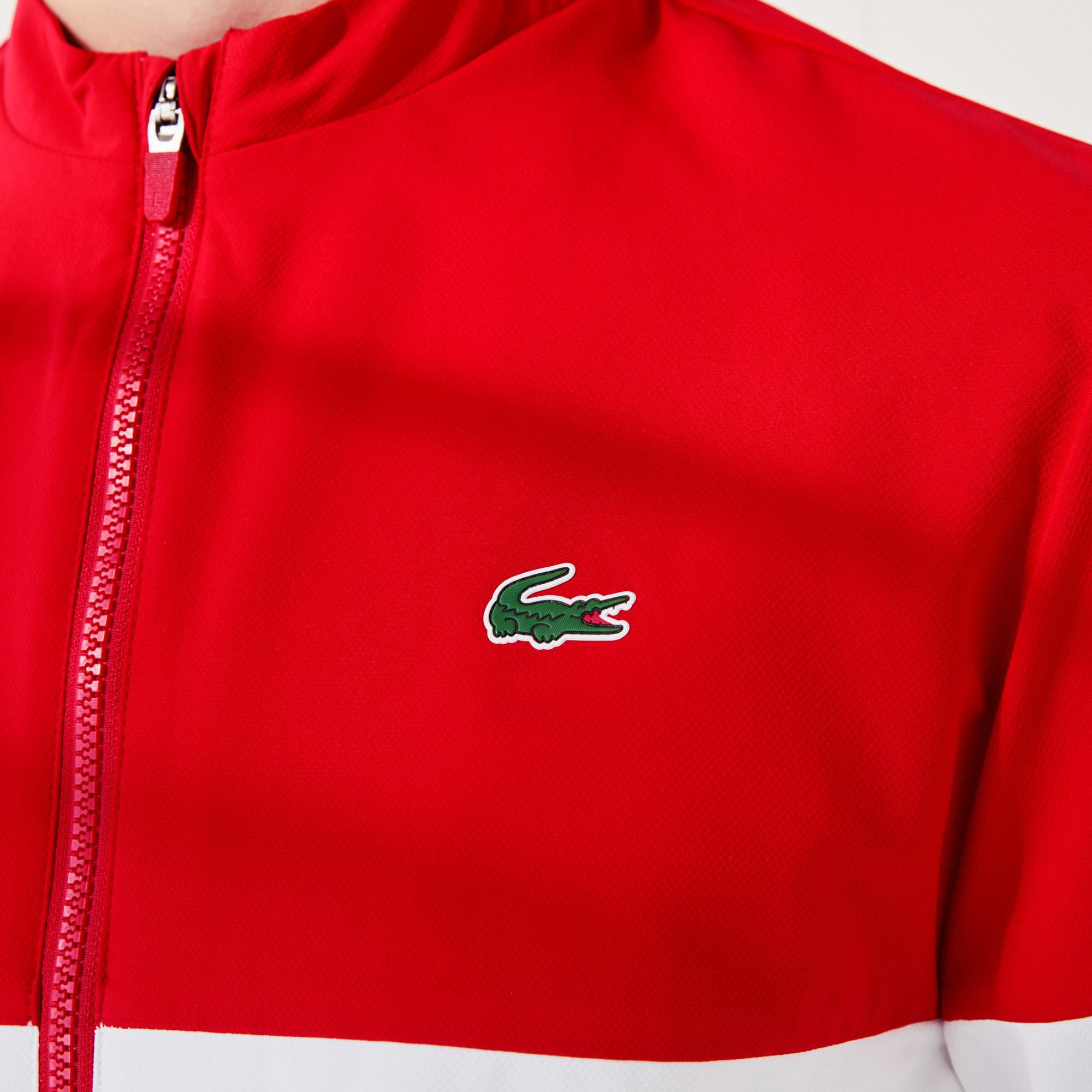 Lacoste Sport Novak Djokovic Erkek Dik Yaka Renk Bloklu Kırmızı - Beyaz Ceket
