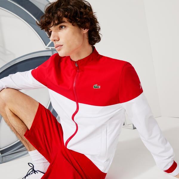 Lacoste Sport Novak Djokovic Erkek Dik Yaka Renk Bloklu Kırmızı - Beyaz Mont