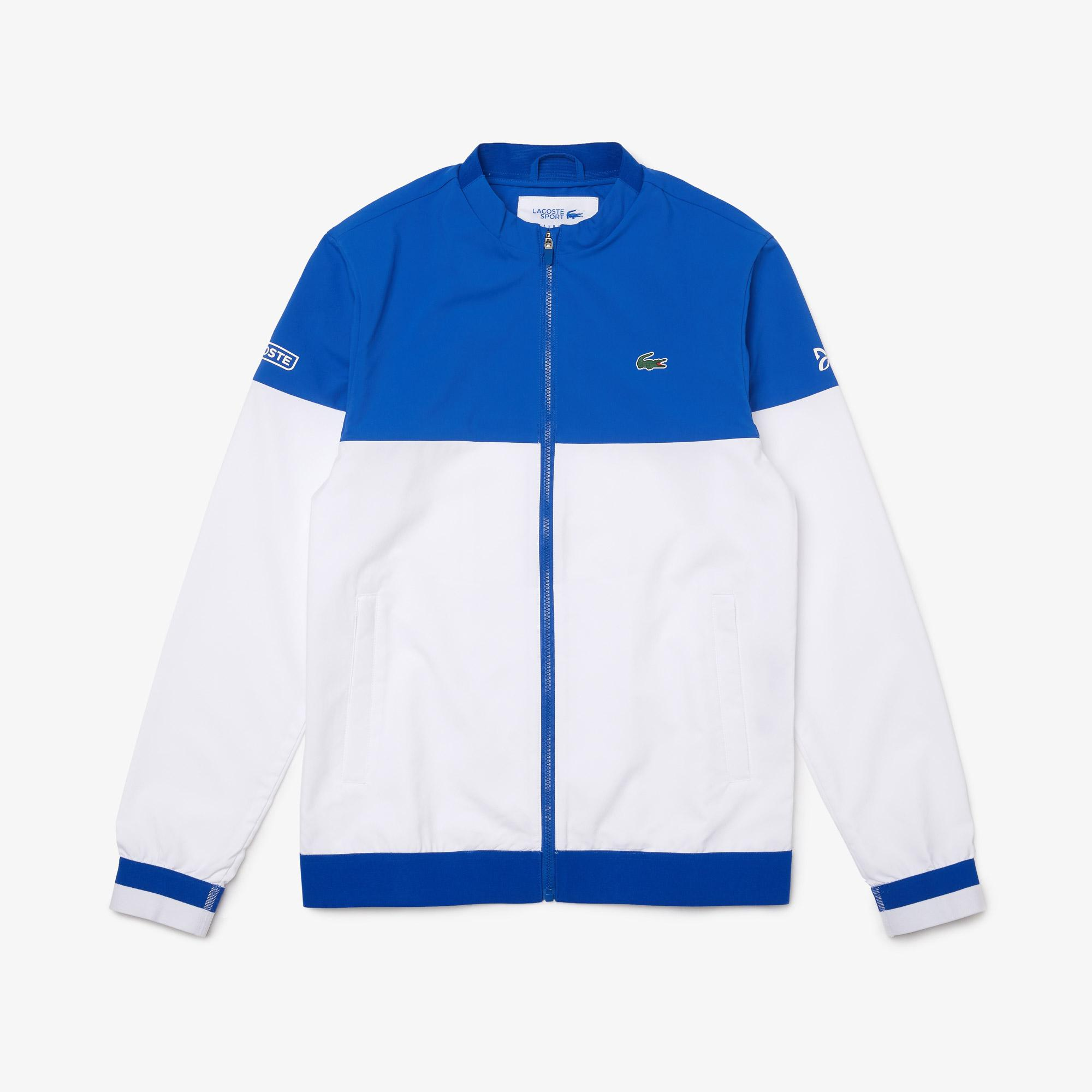 Lacoste Sport Novak Djokovic Erkek Dik Yaka Renk Bloklu Mavi - Beyaz Ceket