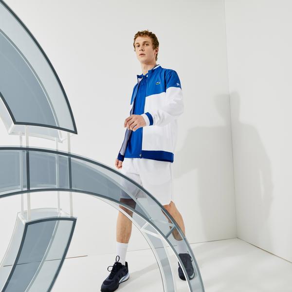 Lacoste Sport Novak Djokovic Erkek Dik Yaka Renk Bloklu Mavi - Beyaz Mont