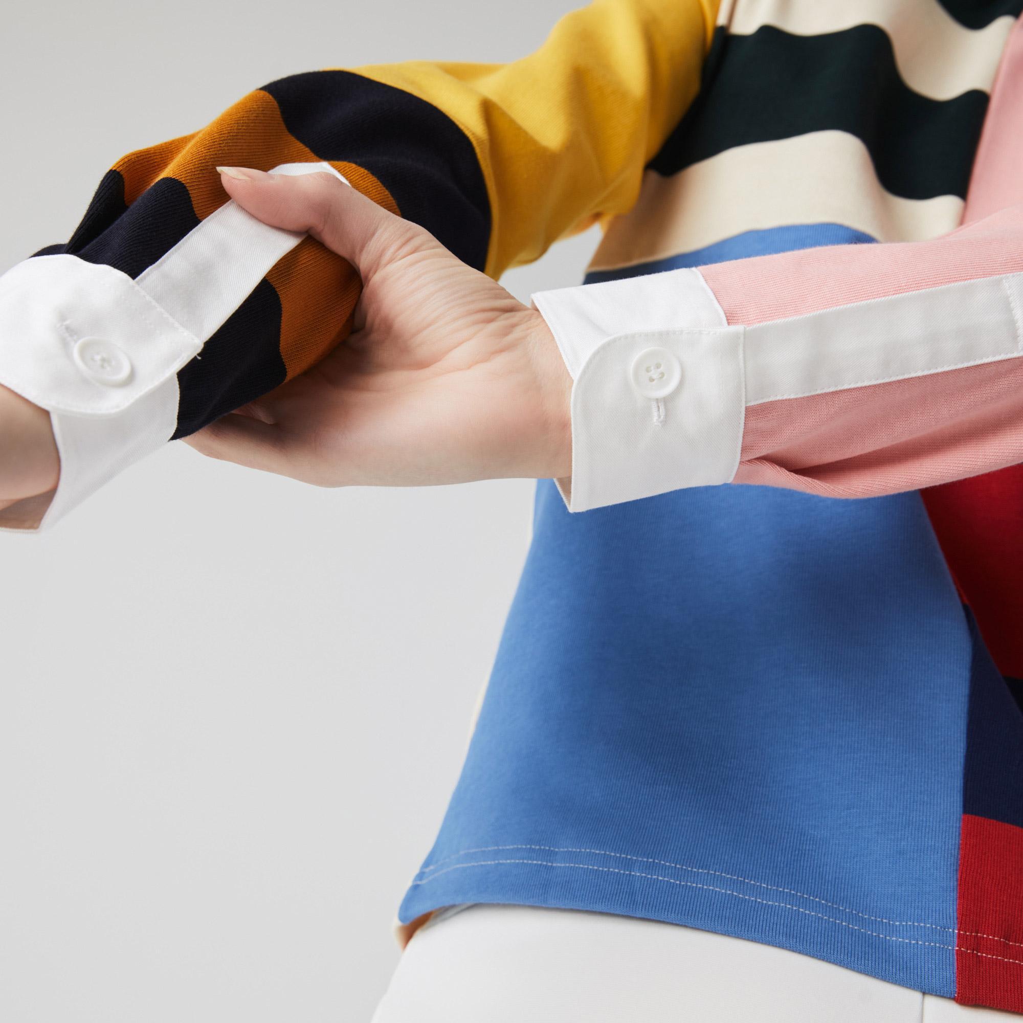 Lacoste L!ve Kadın Regular Fit Uzun Kollu Renk Bloklu Renkli Polo