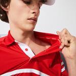 Lacoste Sport Novak Djokovic Erkek Baskılı Çizgili Kırmızı Polo