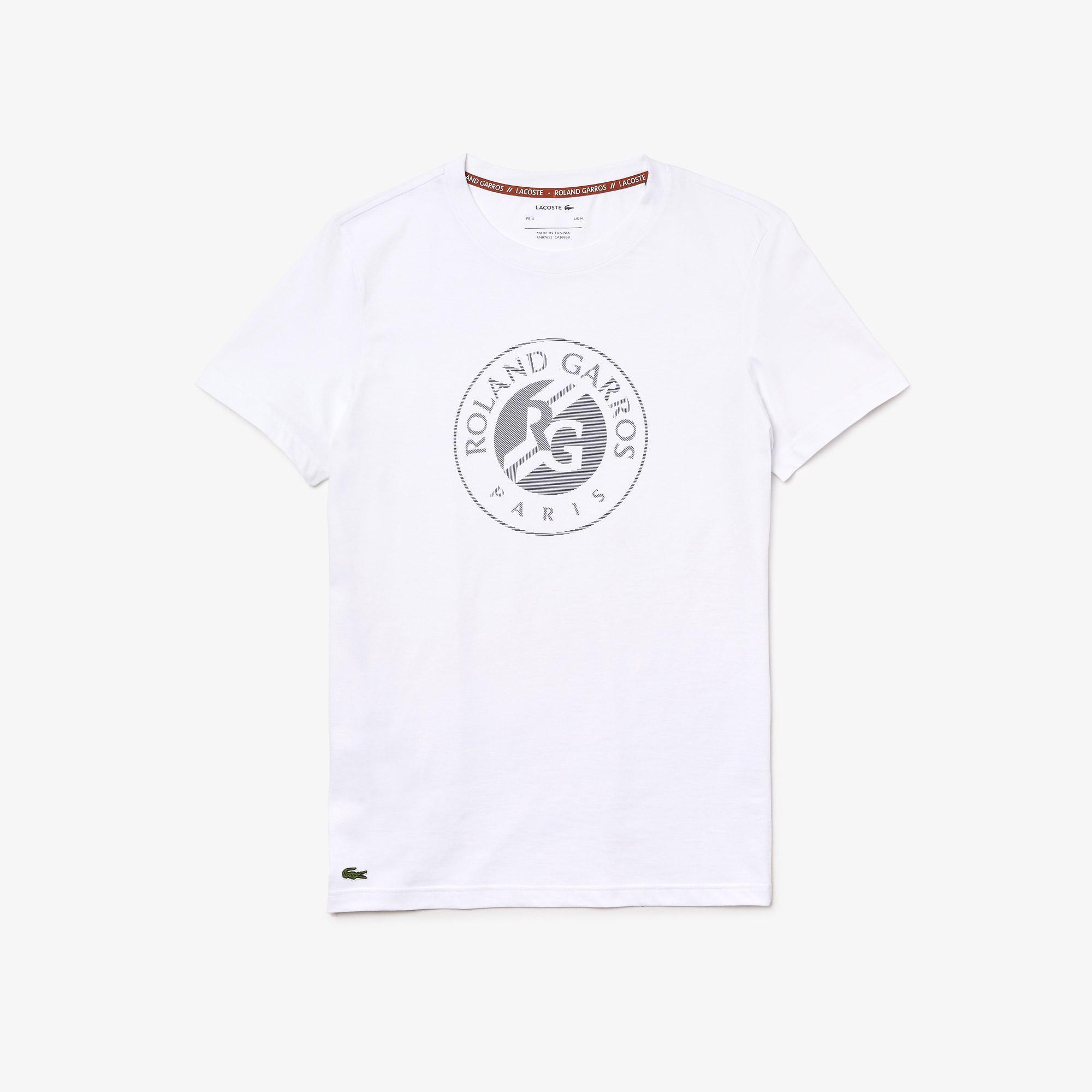 Lacoste Sport Roland Garros Erkek Bisiklet Yaka Baskılı Beyaz T-Shirt