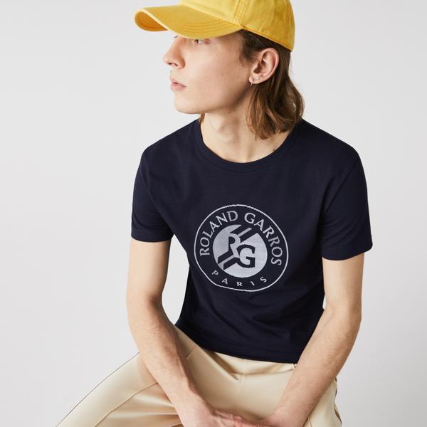 Lacoste Sport Roland Garros Erkek Bisiklet Yaka Baskılı Lacivert T-Shirt