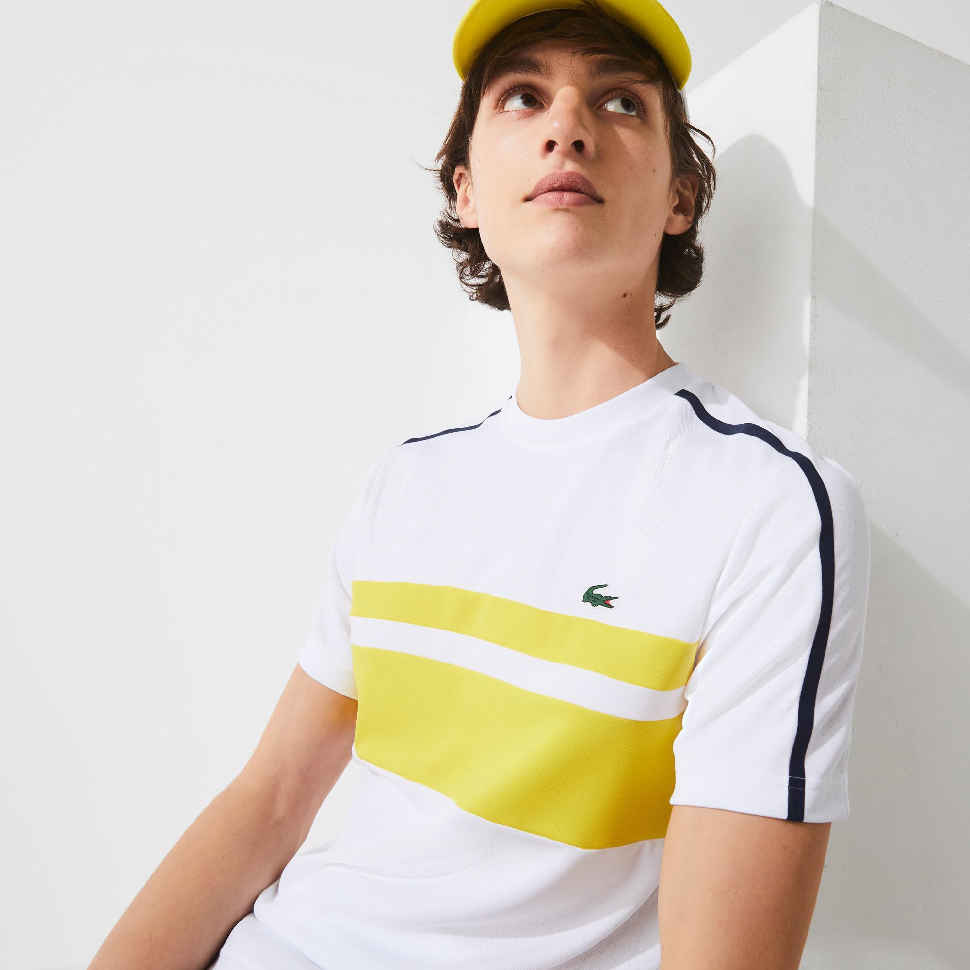 Lacoste Sport Erkek Bisiklet Yaka Renk Bloklu Beyaz - Sarı T-Shirt