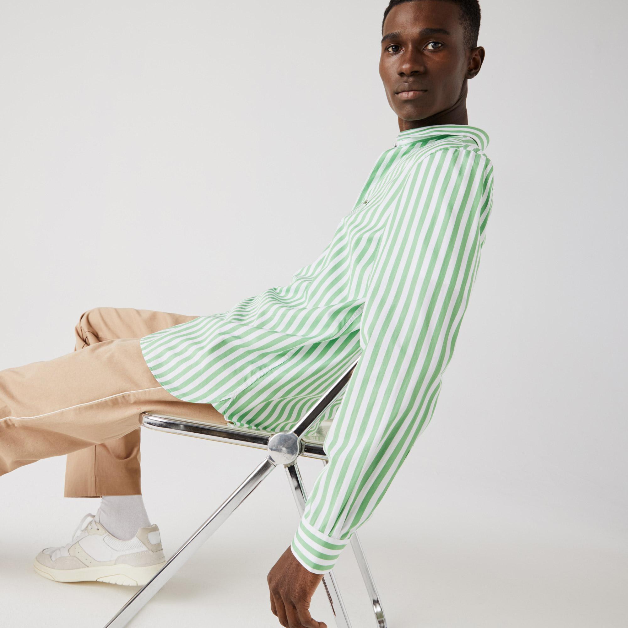Lacoste Erkek Regular Fit Çizgili Yeşil - Beyaz Gömlek