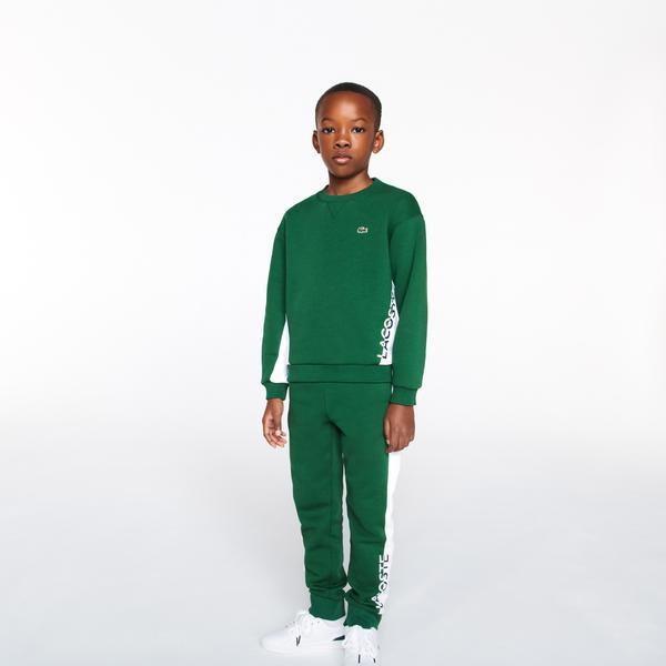 Lacoste Çocuk Renk Bloklu Baskılı Yeşil - Beyaz Eşofman Altı