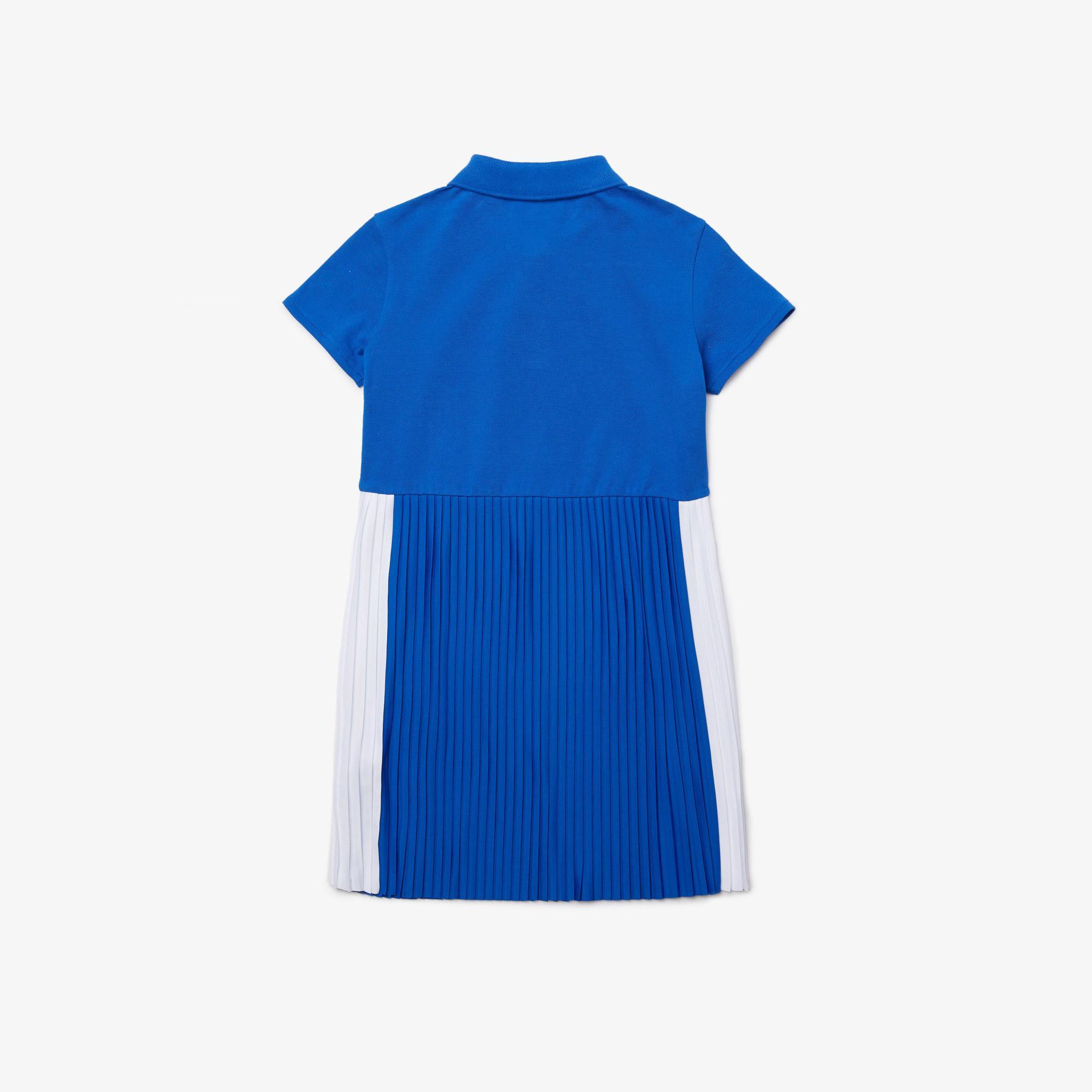 Lacoste Çocuk Kısa Kollu Polo Yaka Renk Bloklu Mavi - Beyaz Elbise