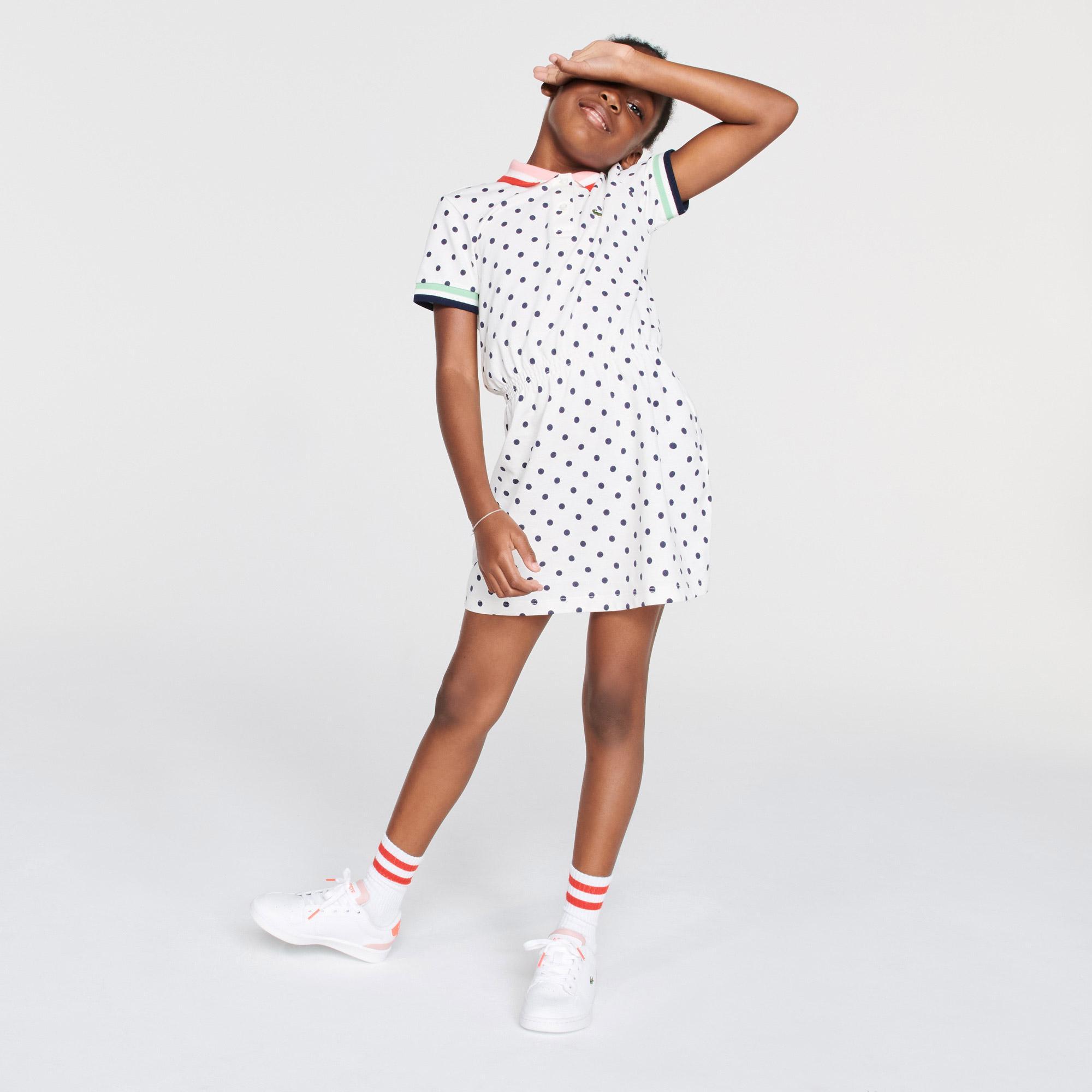 Lacoste Çocuk Kısa Kollu Polo Yaka Baskılı Beyaz Elbise