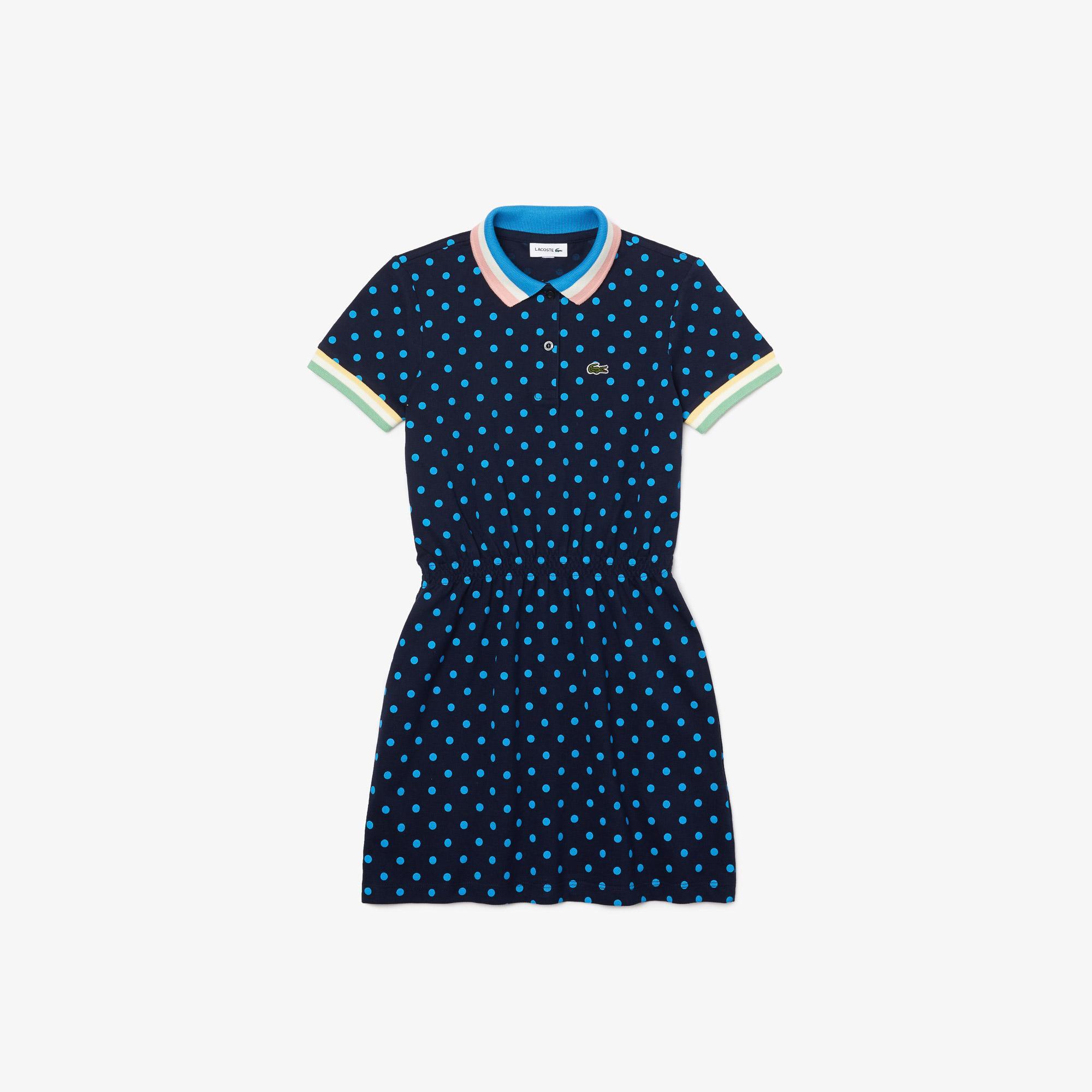 Lacoste Çocuk Kısa Kollu Polo Yaka Baskılı Lacivert Elbise
