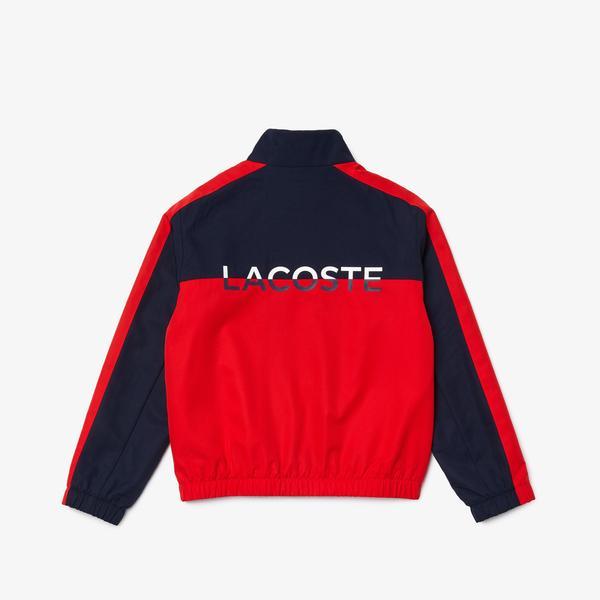 Lacoste Çocuk Dik Yaka Fermuarlı Baskılı Lacivert - Kırmızı Mont