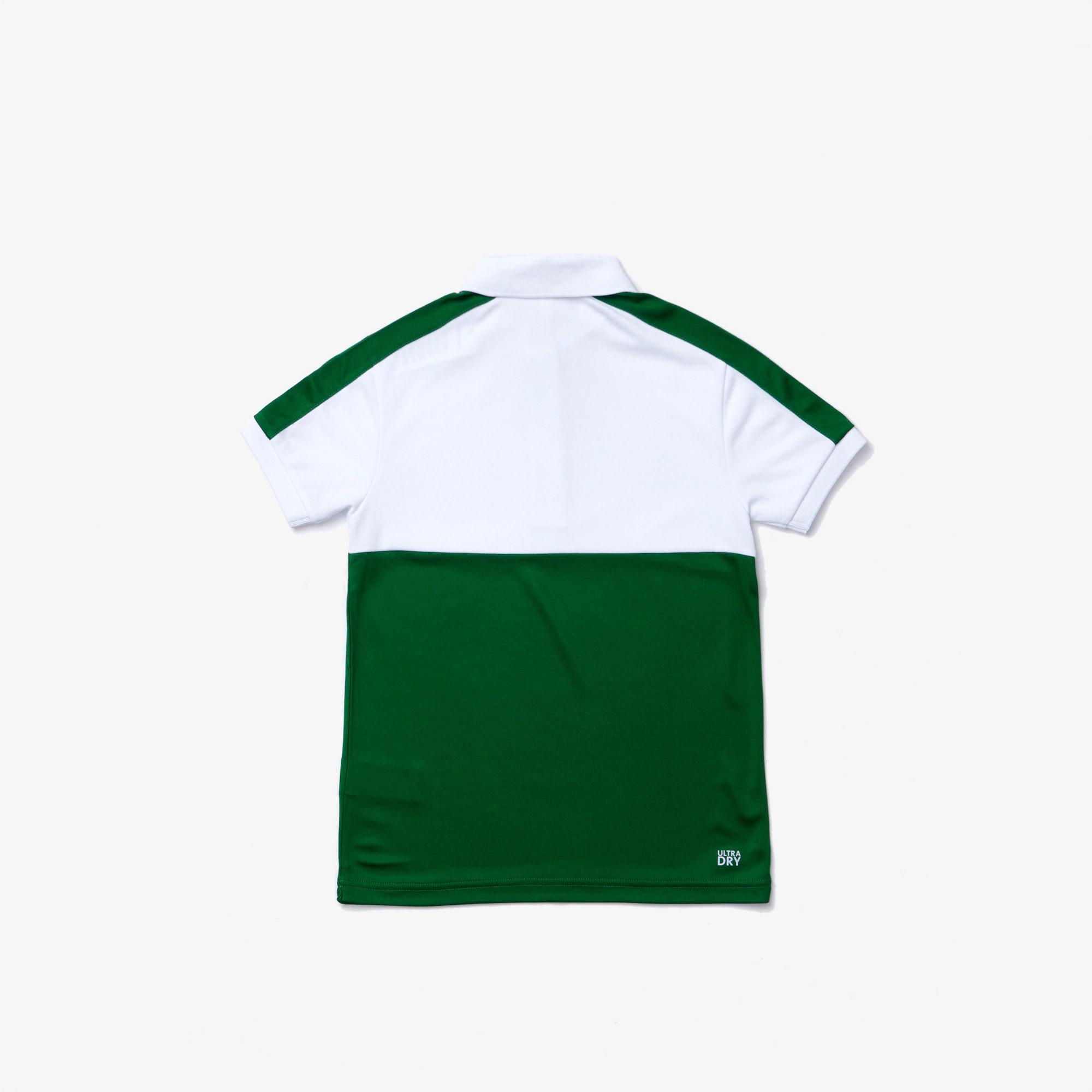 Lacoste Çocuk Renk Bloklu Baskılı Yeşil - Beyaz Polo