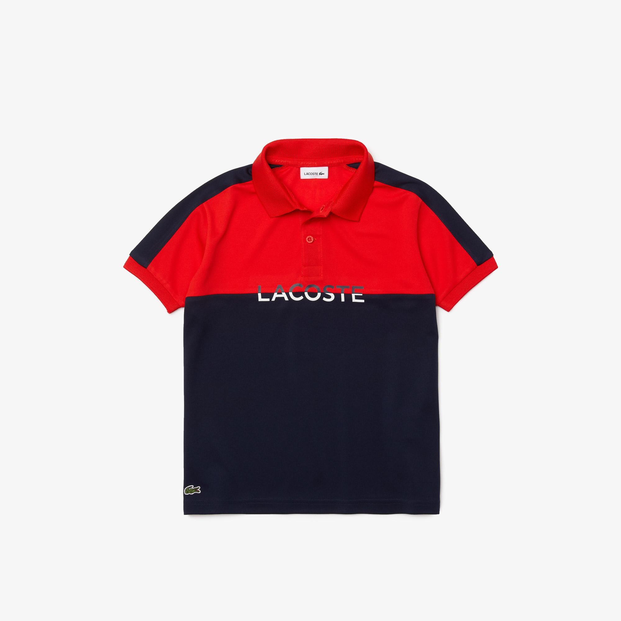Lacoste Çocuk Renk Bloklu Baskılı Lacivert - Kırmızı Polo