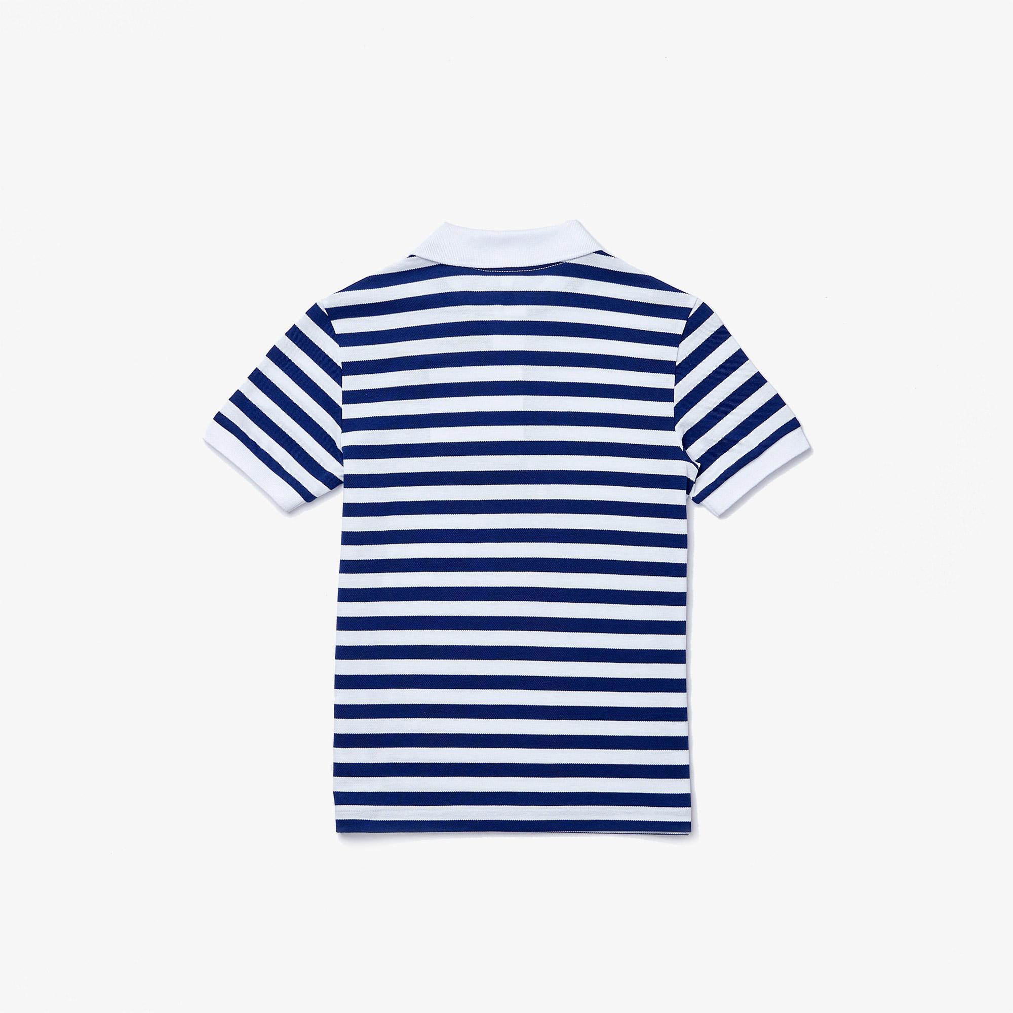 Lacoste Çocuk Çizgili Mavi - Beyaz Polo