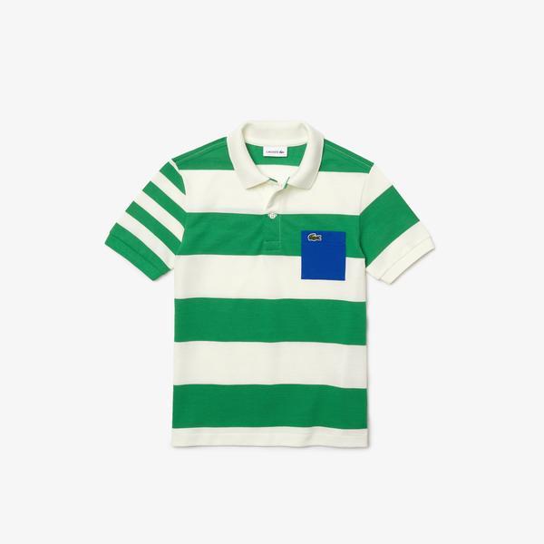 Lacoste Çocuk Renk Bloklu Yeşil - Beyaz Polo