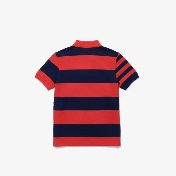 Lacoste Çocuk Renk Bloklu Lacivert - Kırmızı Polo