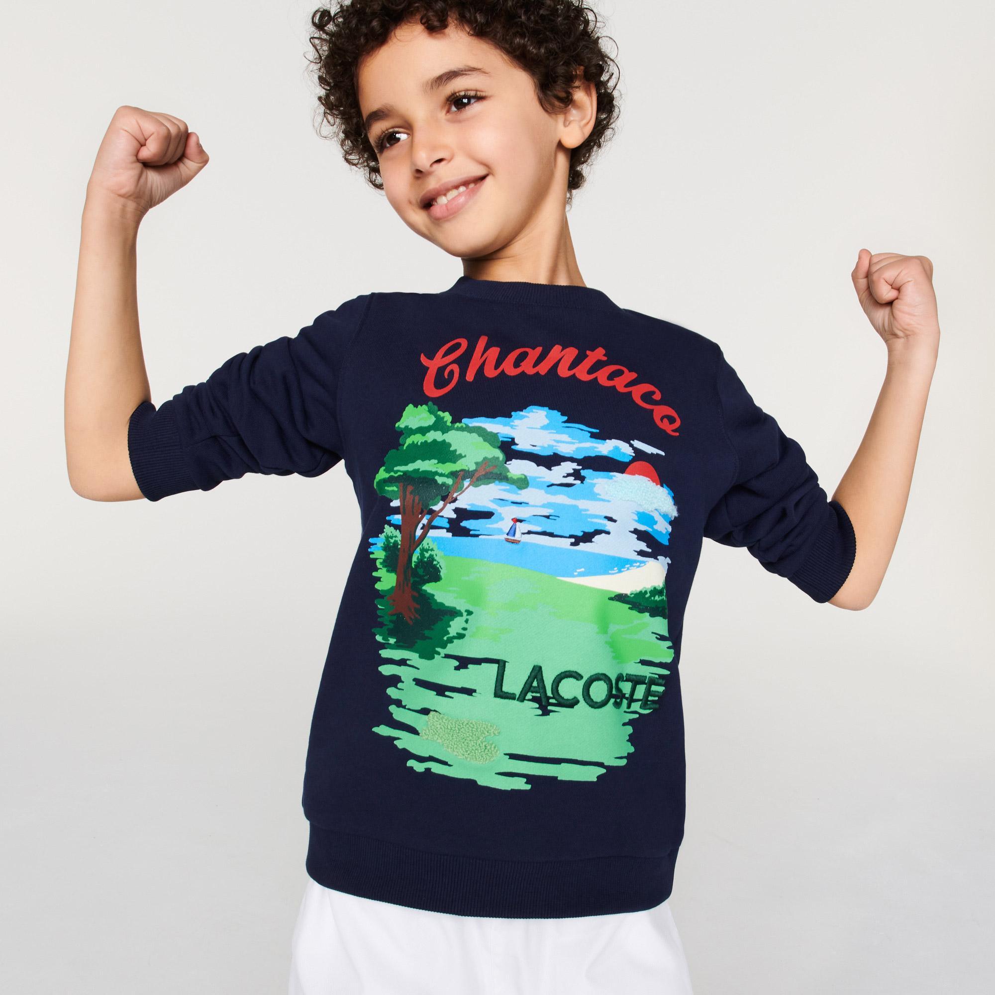 Lacoste Çocuk Bisiklet Yaka Baskılı Lacivert Sweatshirt