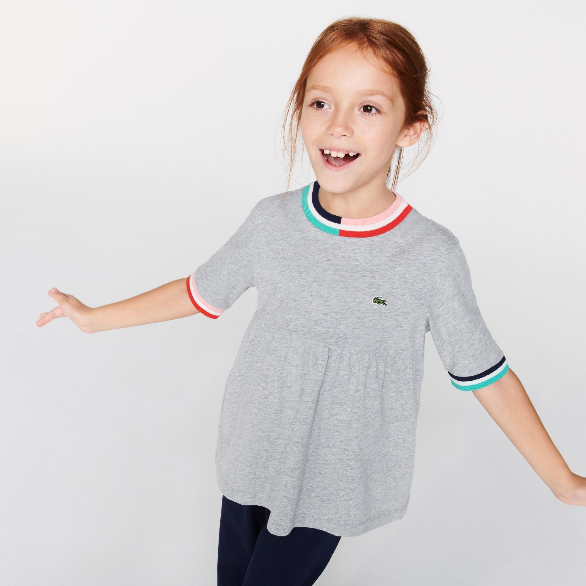Lacoste Çocuk Bisiklet Yaka Çizgili Gri T-Shirt