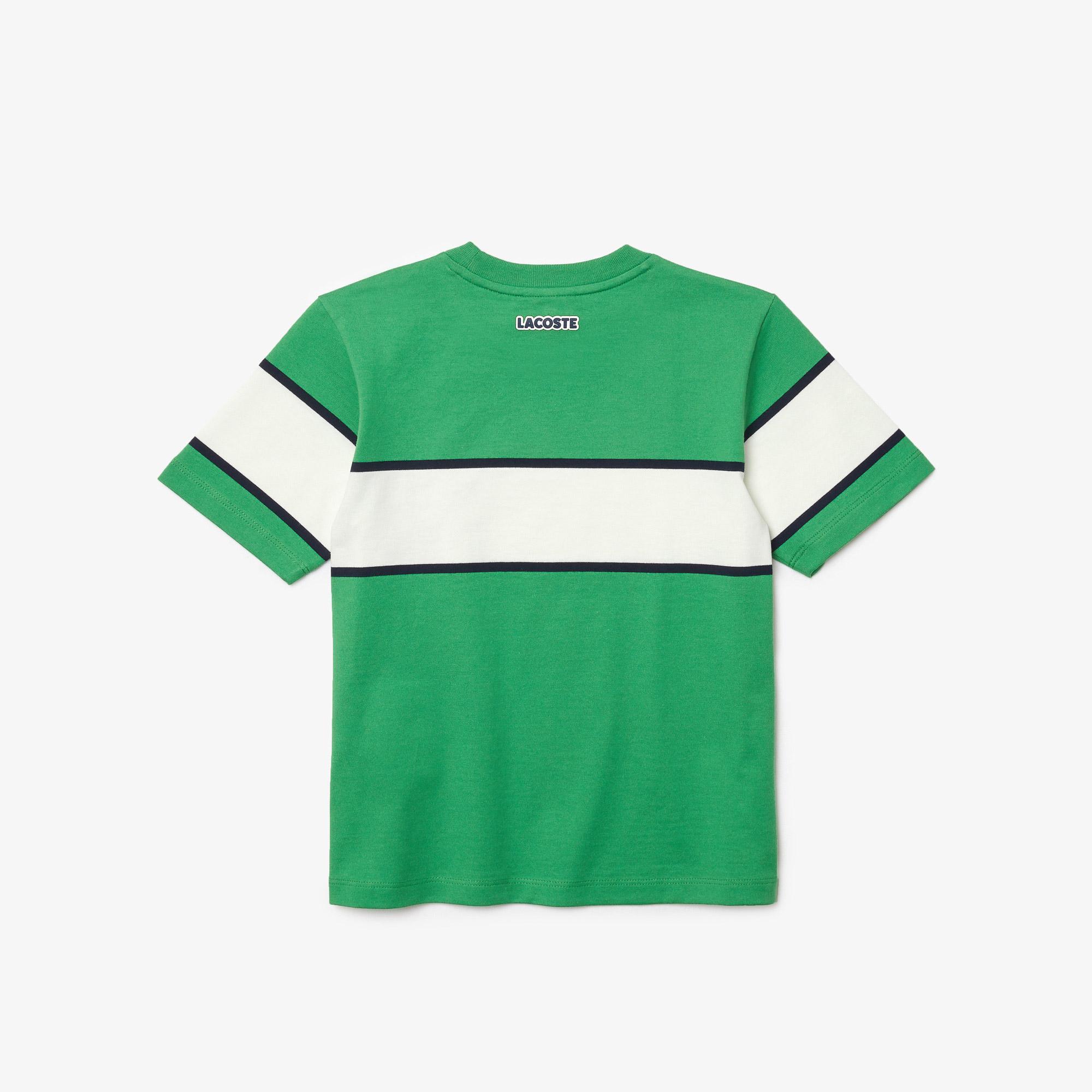 Lacoste Çocuk Bisiklet Yaka Renk Bloklu Yeşil - Beyaz T-Shirt