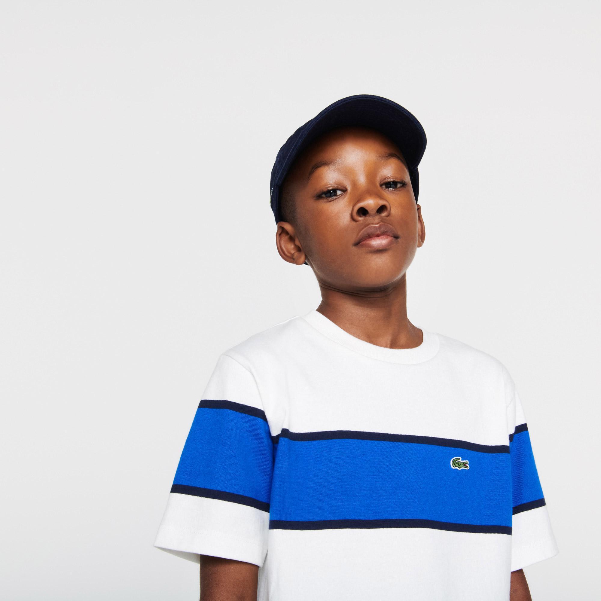 Lacoste Çocuk Bisiklet Yaka Renk Bloklu Beyaz - Lacivert T-Shirt