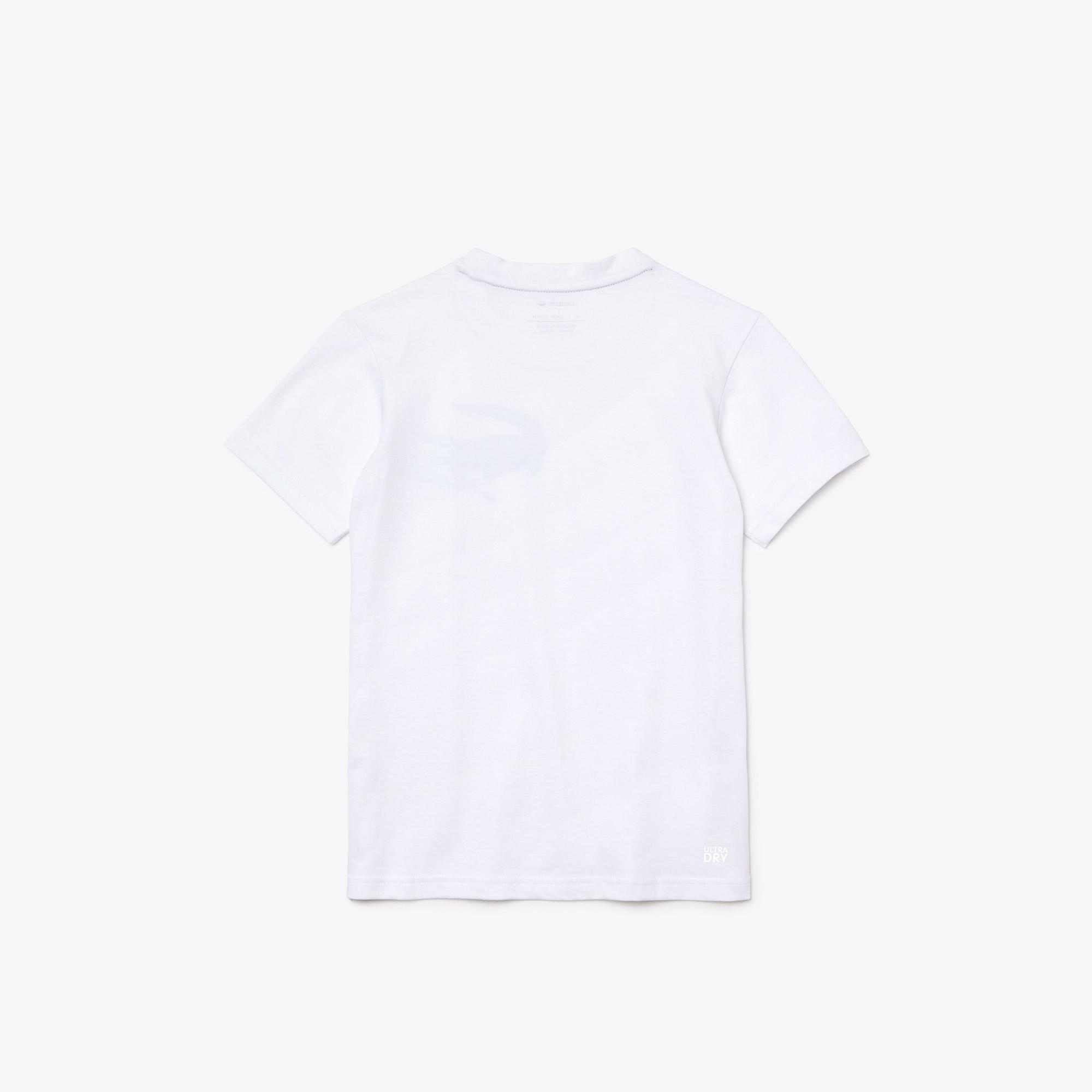 Lacoste Sport Roland Garros Çocuk Bisiklet Yaka Baskılı Beyaz T-Shirt
