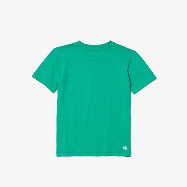 Lacoste Sport Çocuk Bisiklet Yaka Baskılı Yeşil T-Shirt