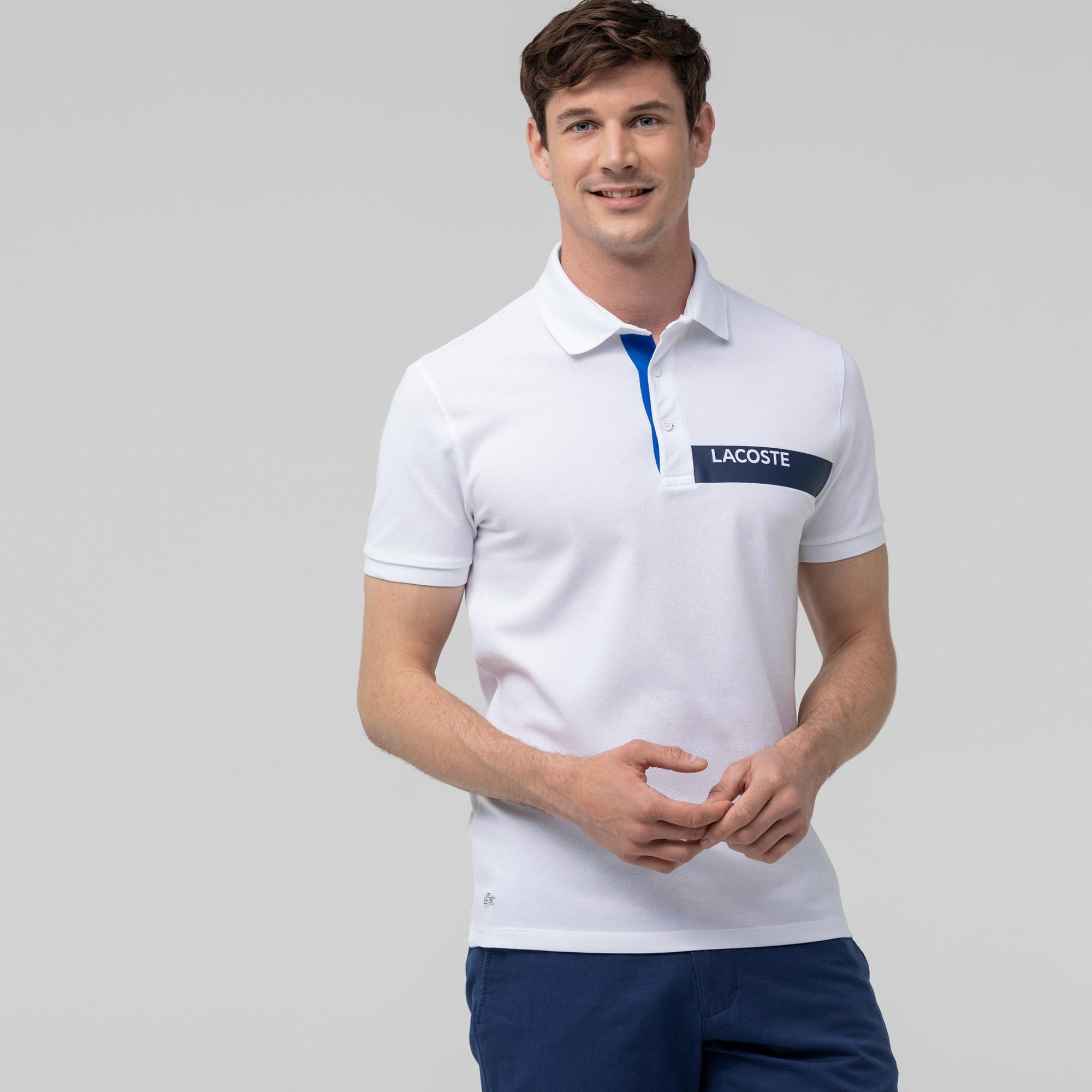 Lacoste Erkek Slim Fit Baskılı Beyaz Polo