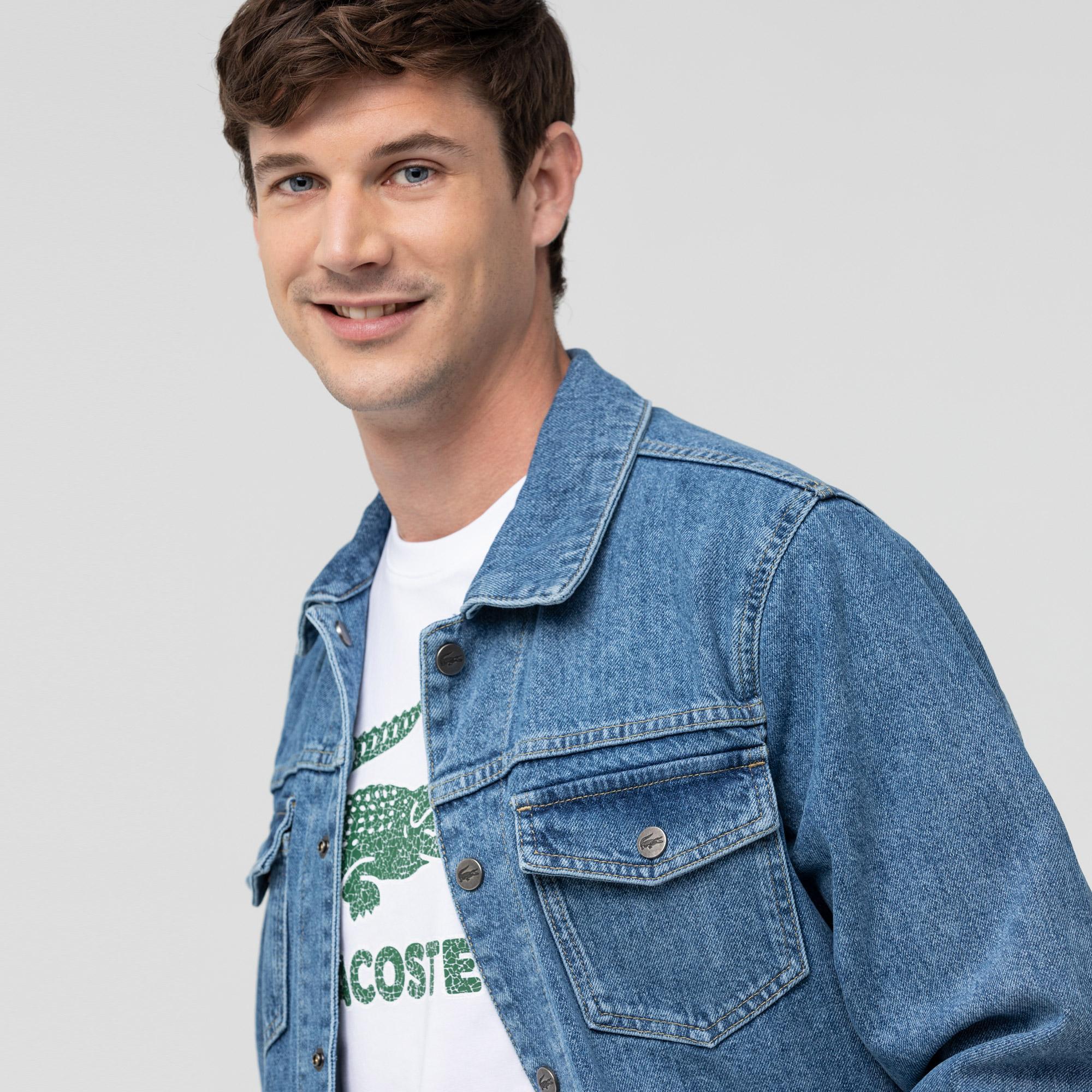 Lacoste Erkek Gömlek Yaka Mavi Denim Ceket
