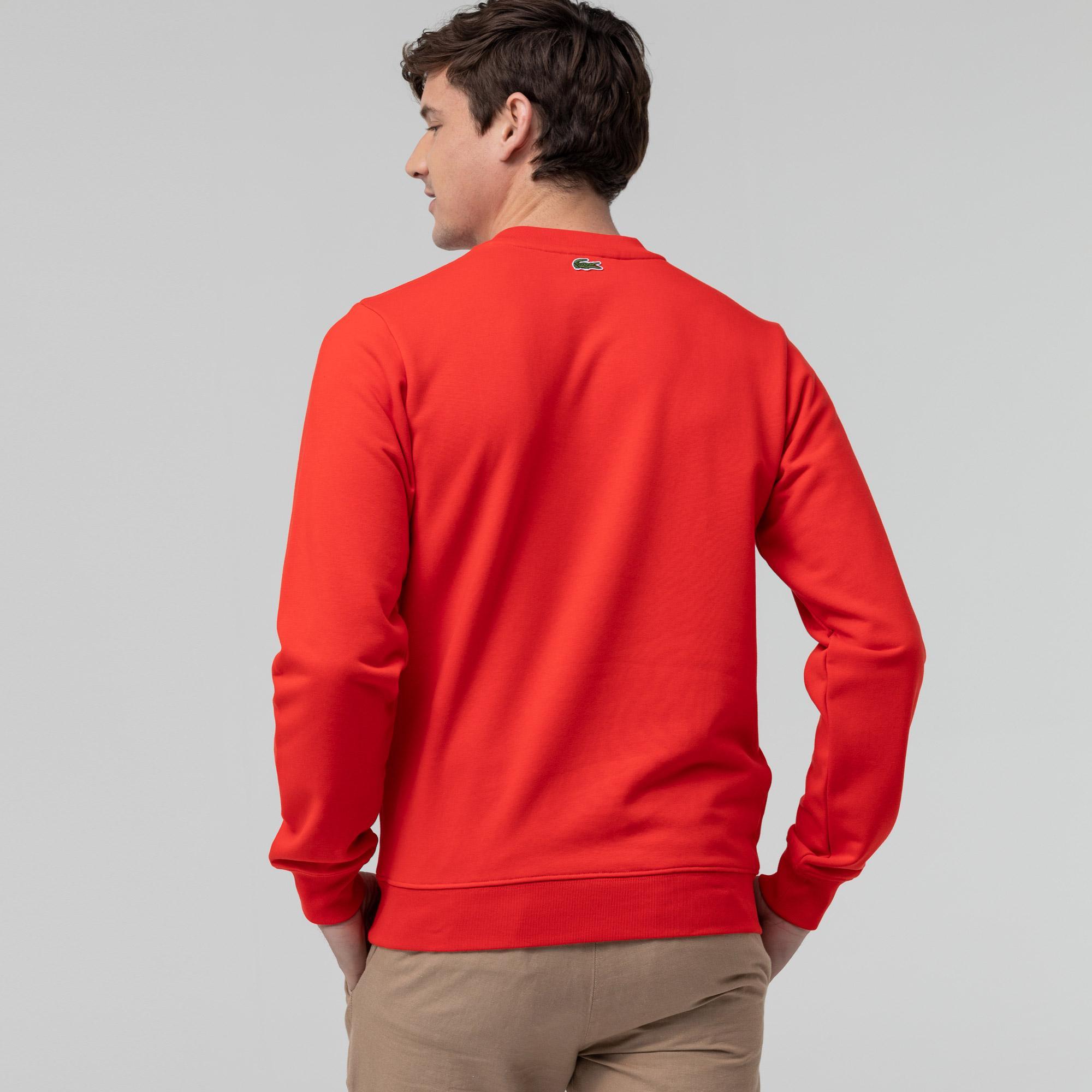Lacoste Erkek Bisiklet Yaka Baskılı Kırmızı Sweatshirt