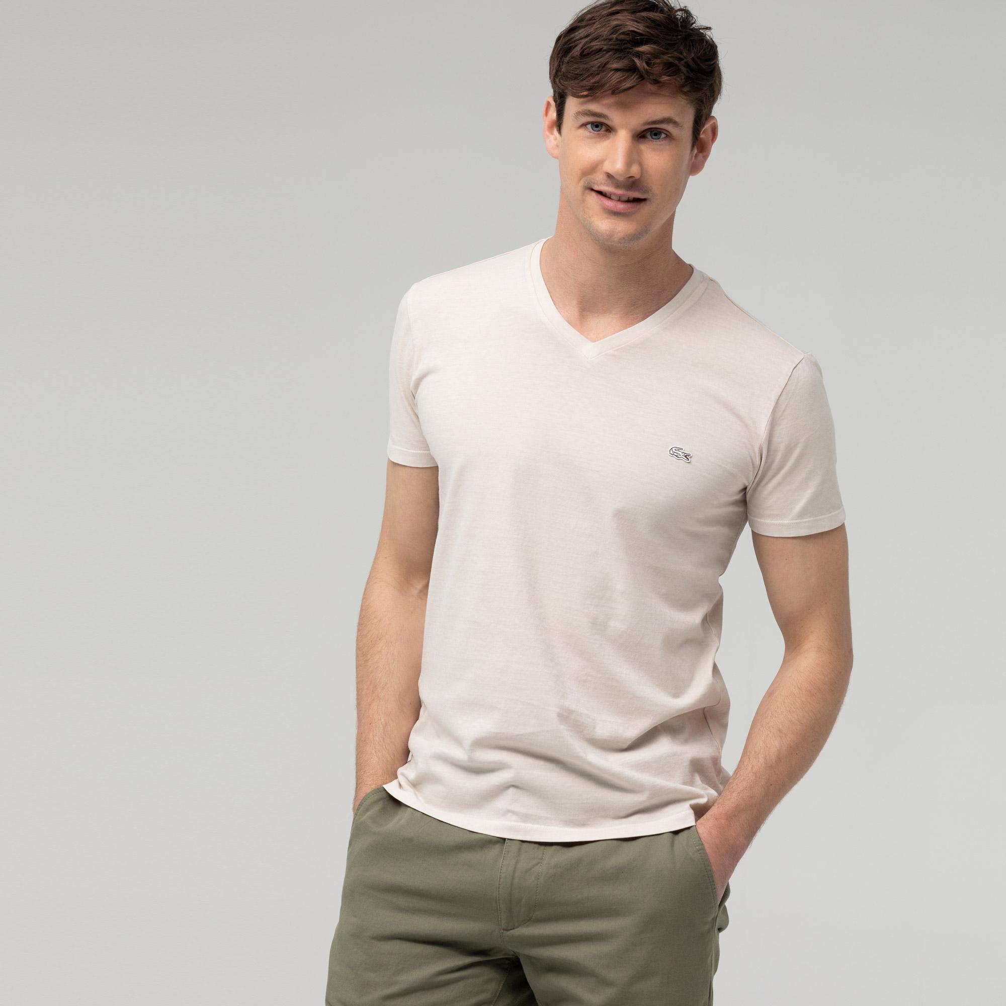 Lacoste Erkek Slim Fit V Yaka Bej T-Shirt