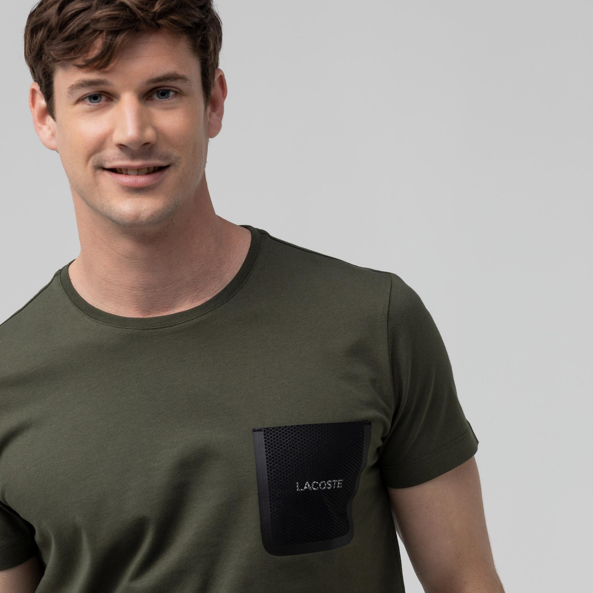 Lacoste Erkek Slim Fit Baskılı Bisiklet Yaka Haki T-Shirt