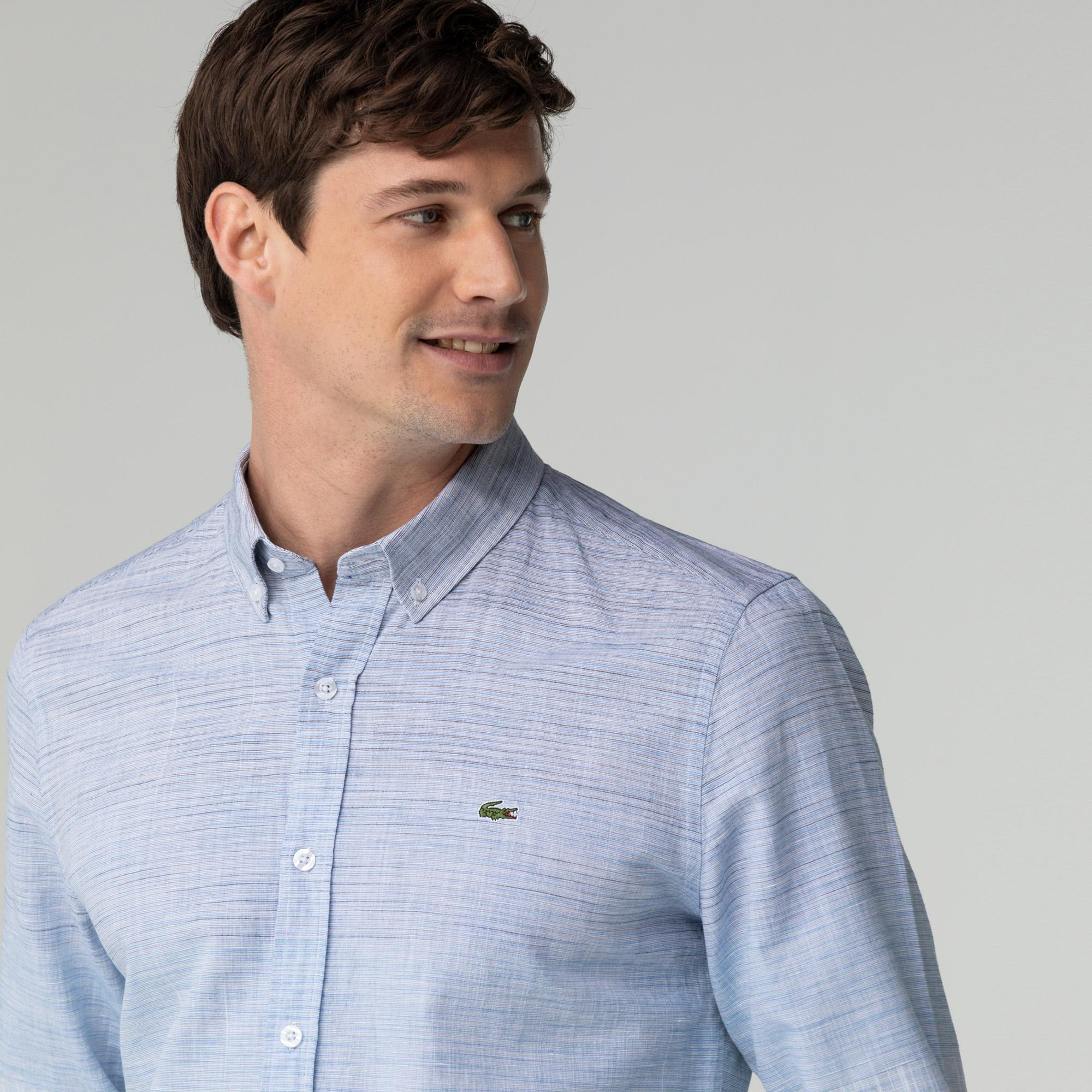 Lacoste Erkek Slim Fit Degrade Açık Mavi Gömlek