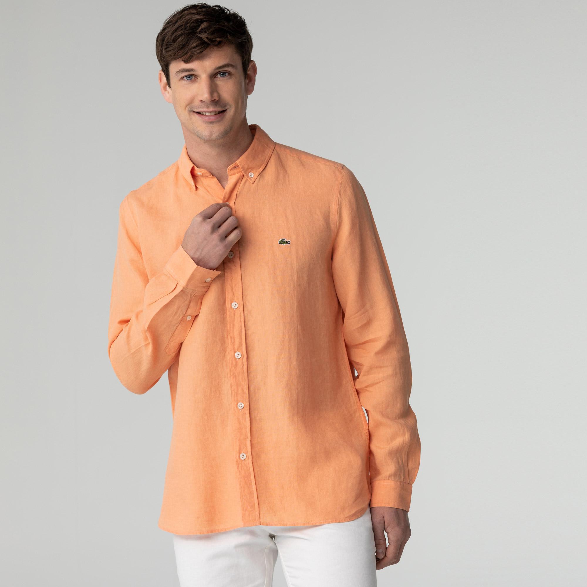 Lacoste Erkek Slim Fit Turuncu Gömlek