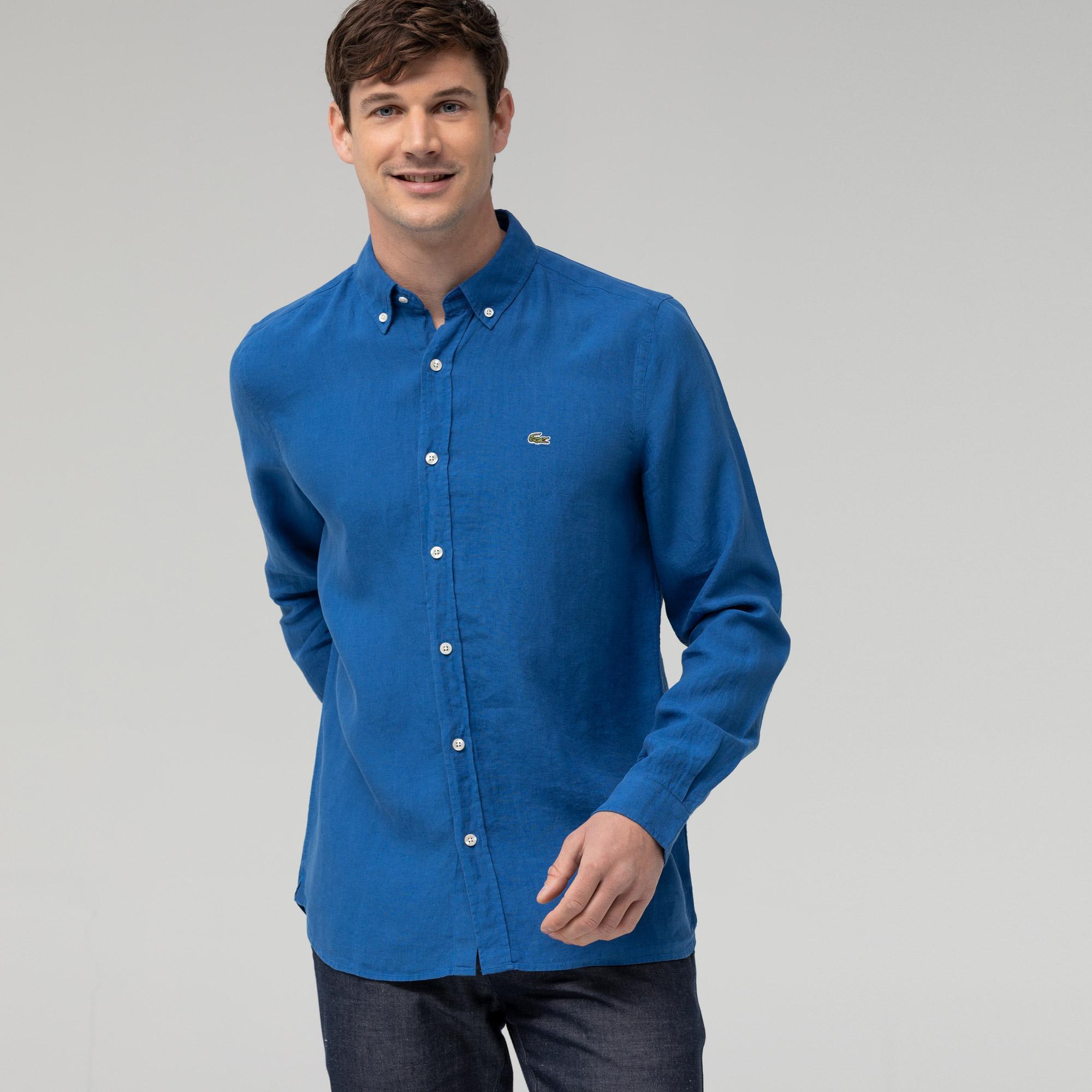 Lacoste Erkek Slim Fit Saks Mavi Gömlek