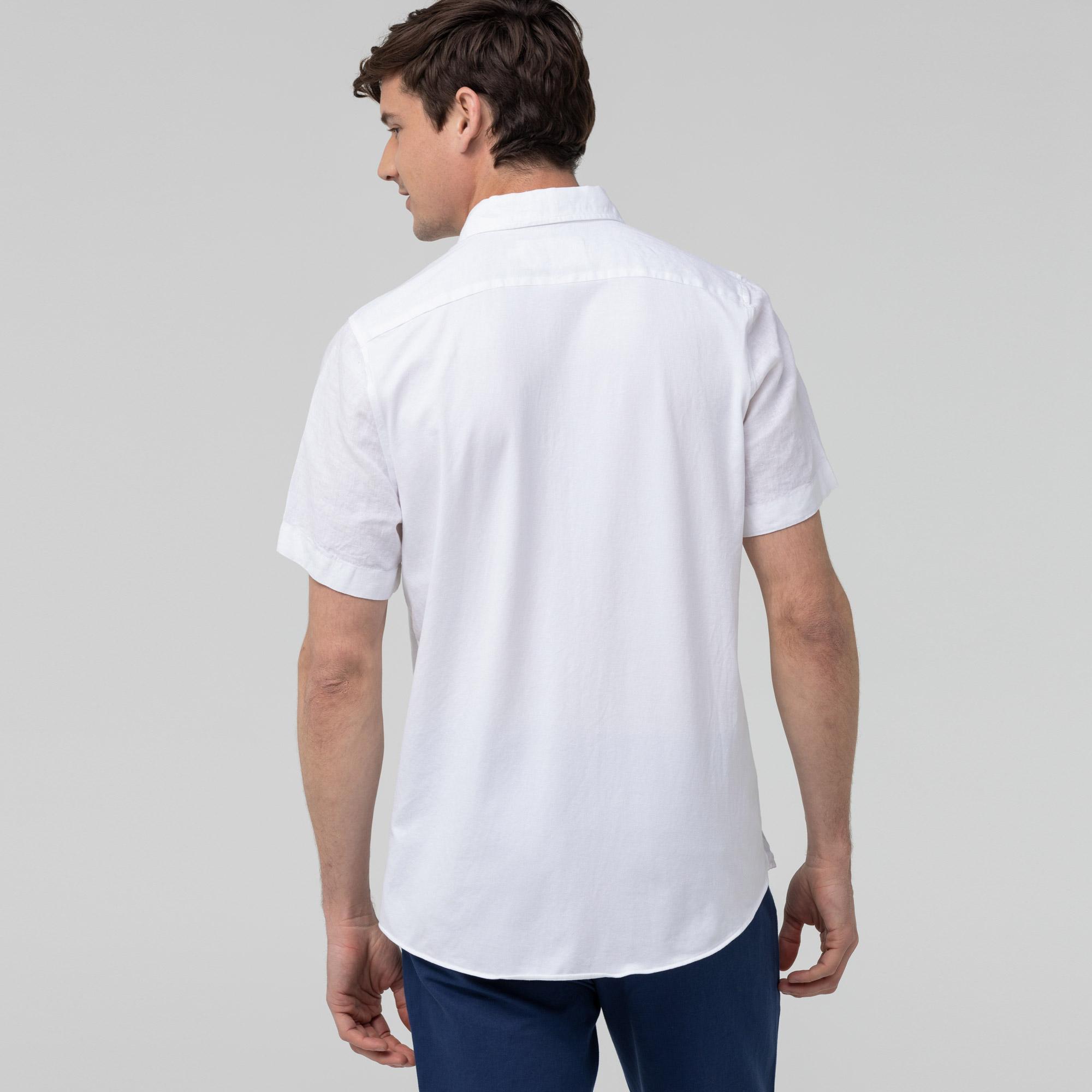 Lacoste Erkek Slim Fit Keten Beyaz Kısa Kollu Gömlek