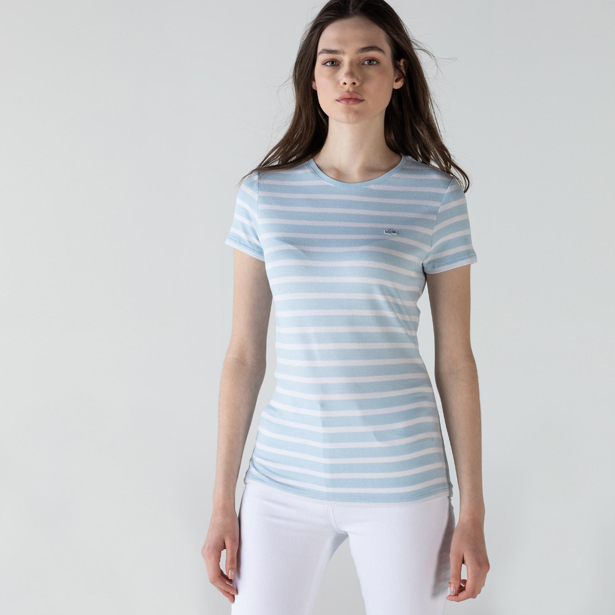Lacoste Kadın Bisiklet Yaka Çizgili Mavi - Beyaz T-Shirt
