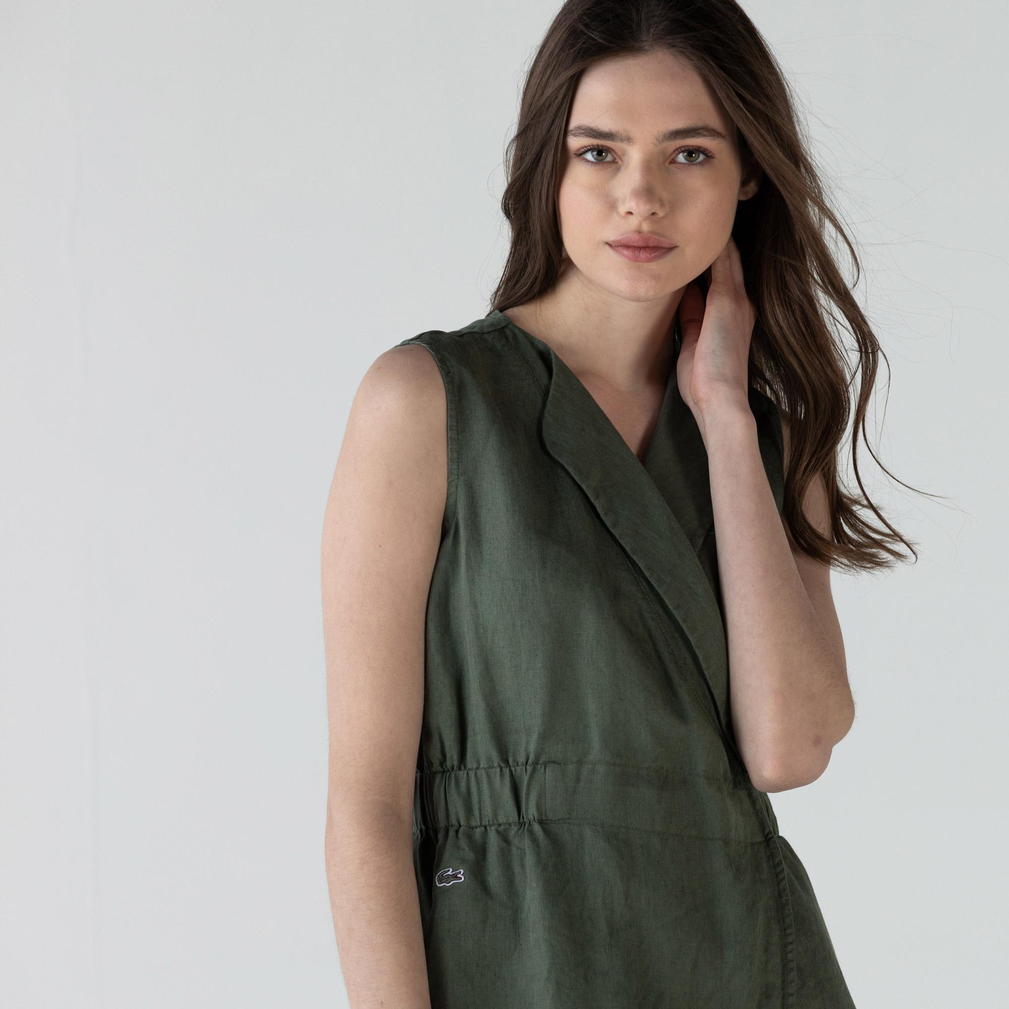 Lacoste Kadın Kruvaze Kolsuz Haki Keten Elbise