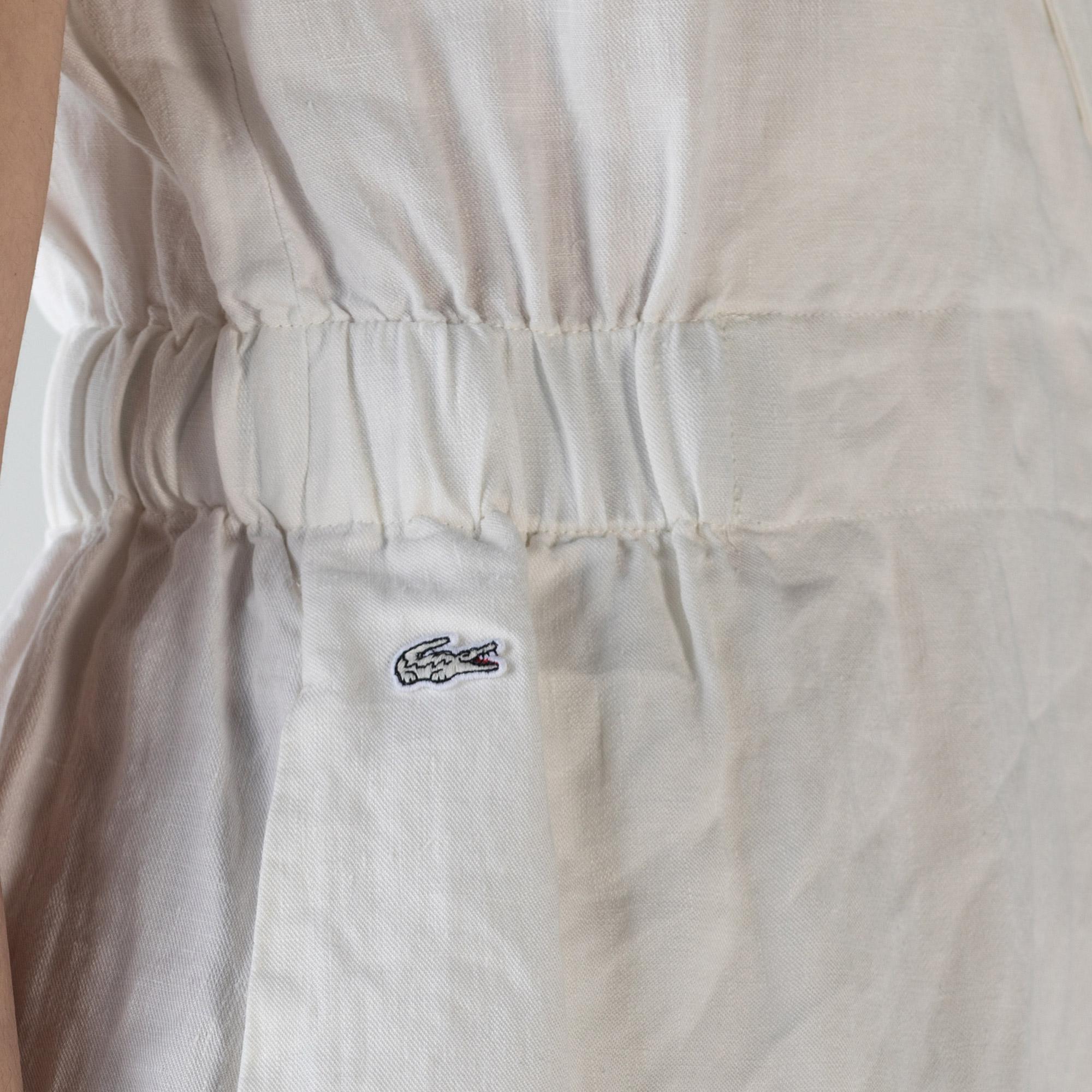 Lacoste Kadın Kruvaze Kolsuz Beyaz Keten Elbise