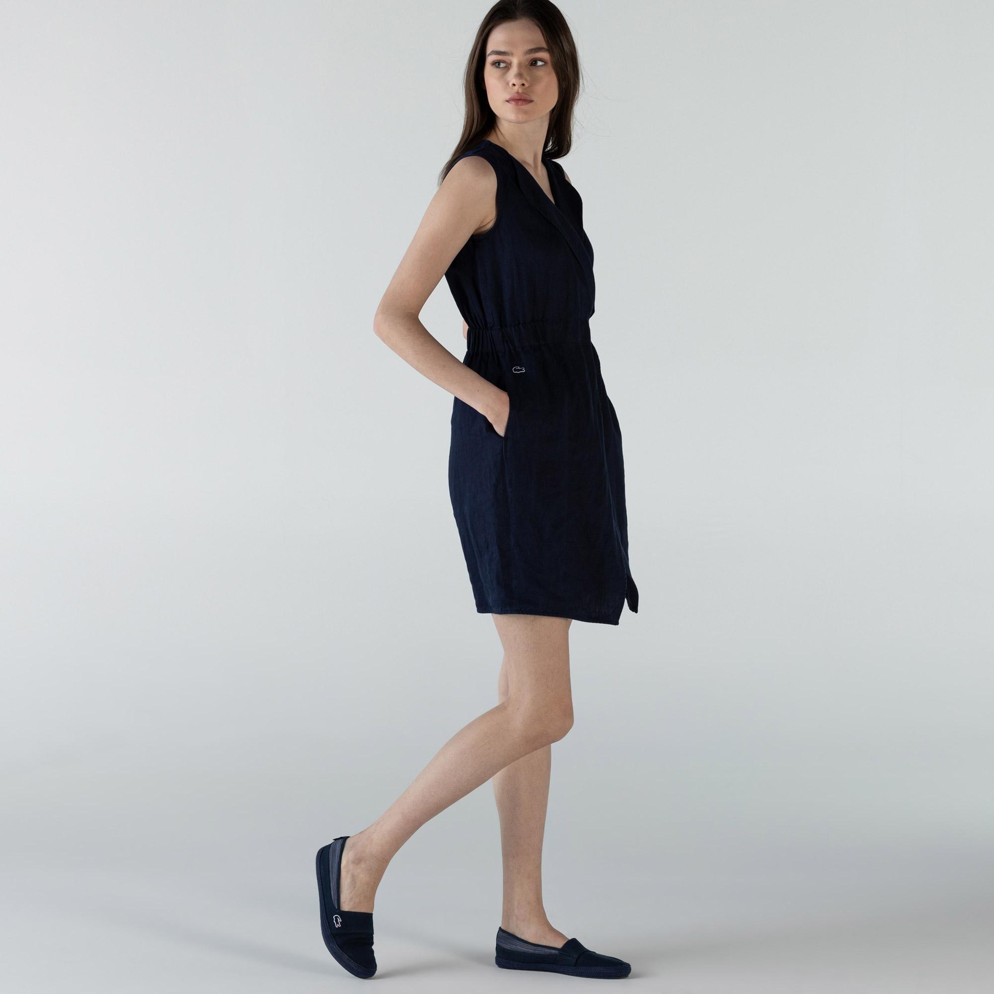 Lacoste Kadın Kruvaze Kolsuz Lacivert Keten Elbise