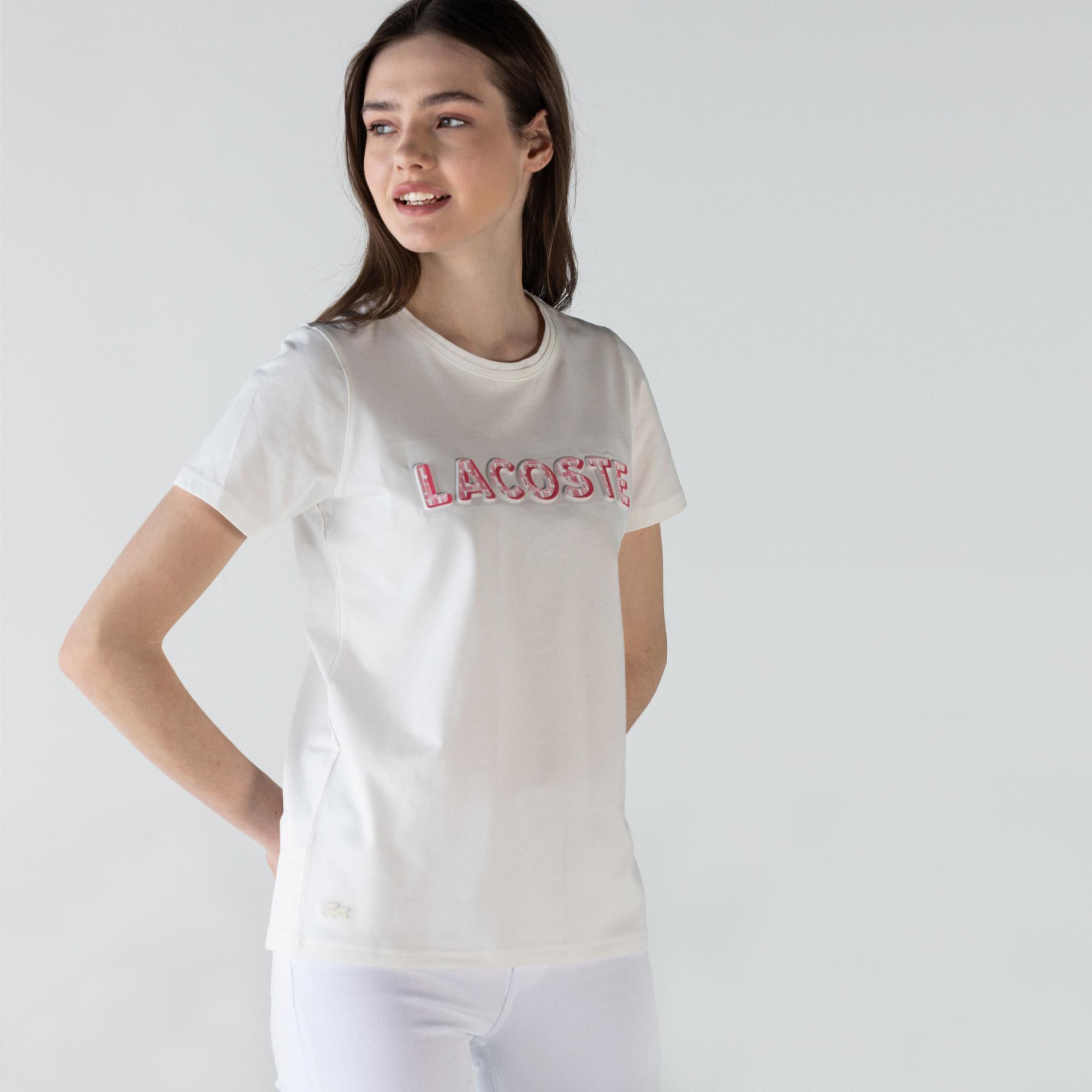 Lacoste Kadın Slim Fit Bisiklet Yaka Baskılı Beyaz T-Shirt