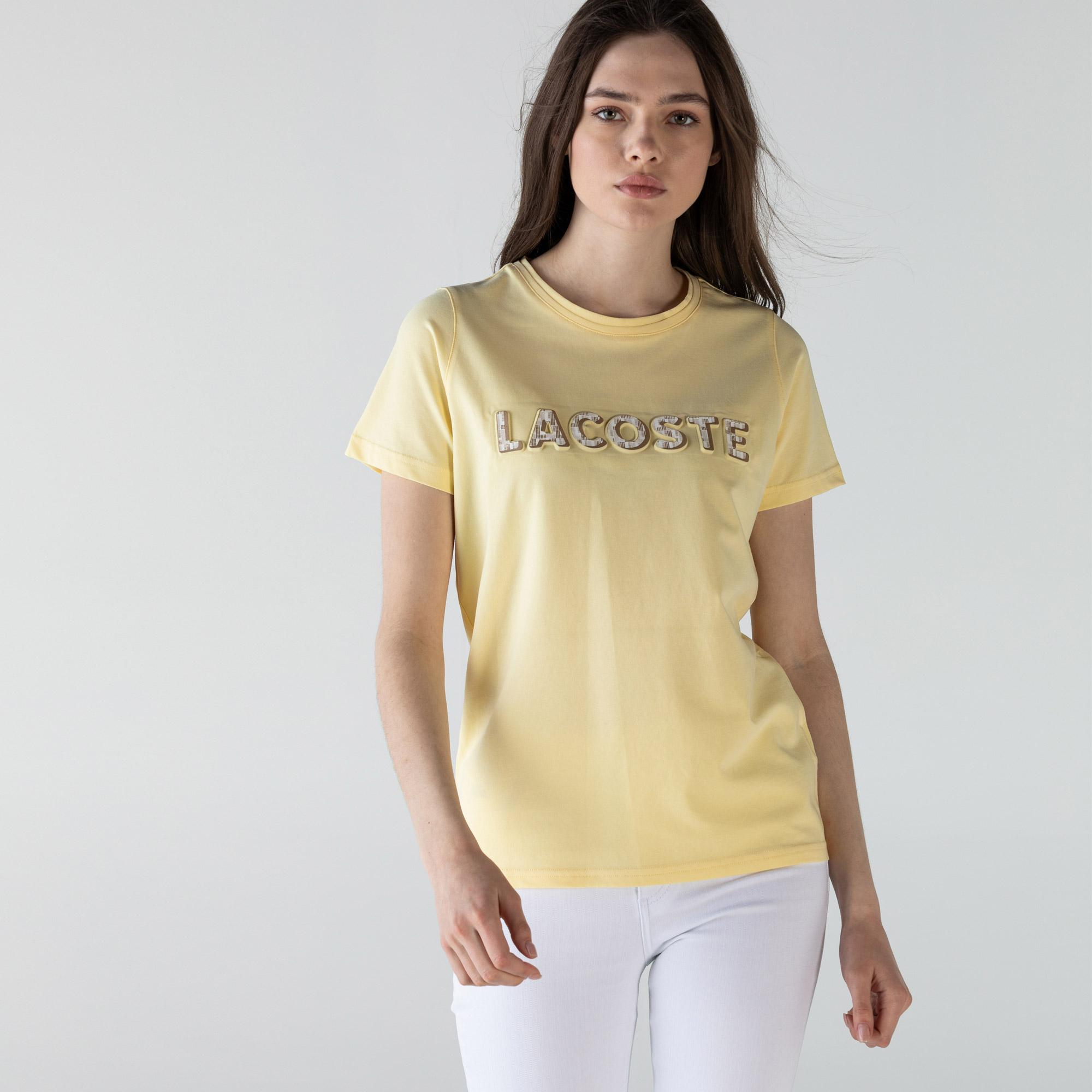 Lacoste Kadın Slim Fit Bisiklet Yaka Baskılı Sarı T-Shirt